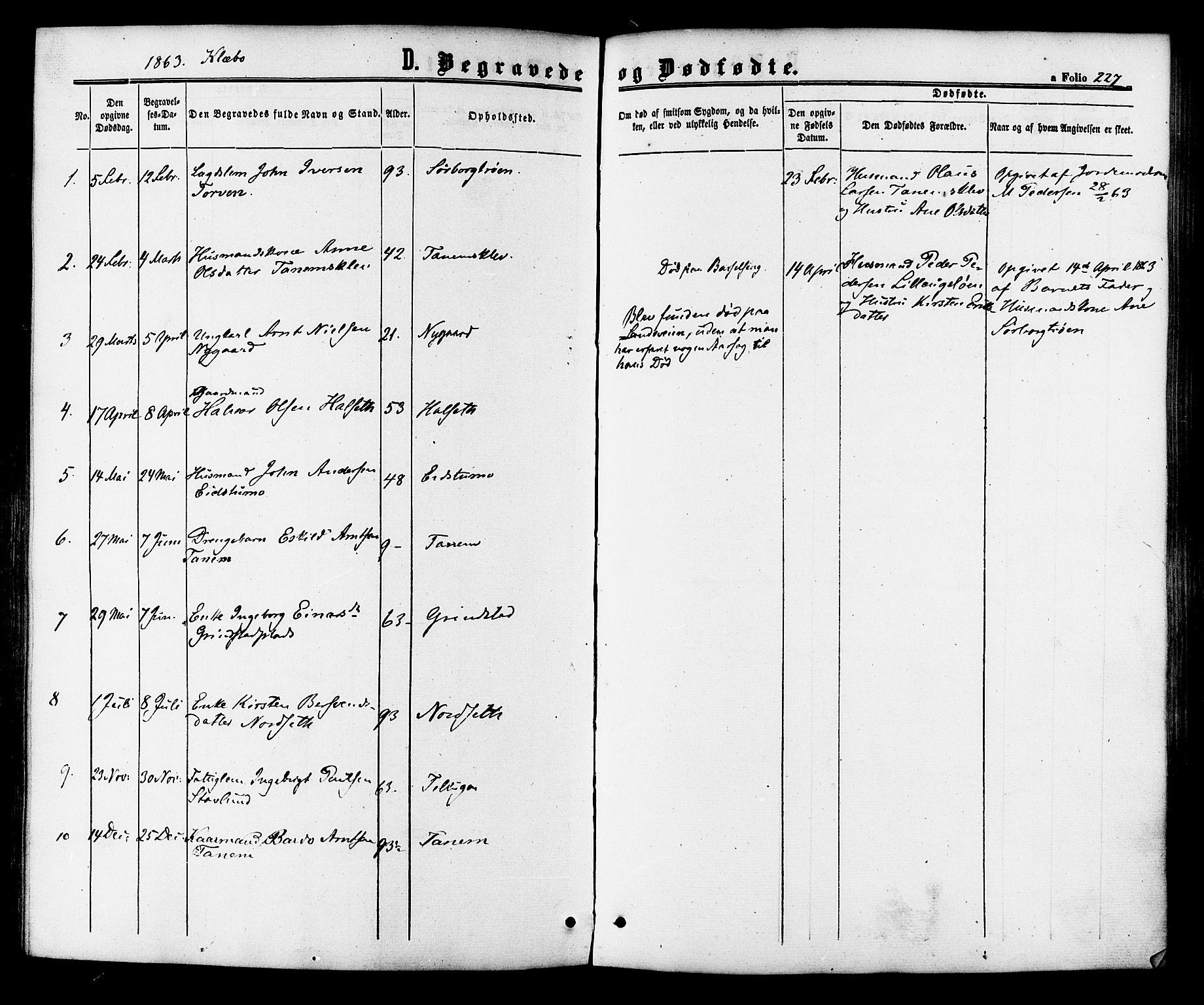 SAT, Ministerialprotokoller, klokkerbøker og fødselsregistre - Sør-Trøndelag, 618/L0442: Ministerialbok nr. 618A06 /1, 1863-1879, s. 227