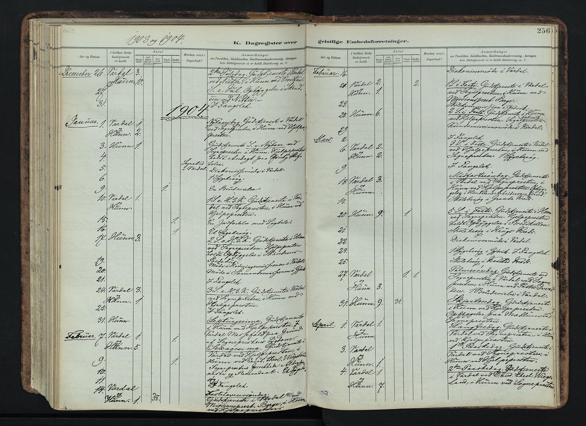 SAH, Vardal prestekontor, H/Ha/Haa/L0019: Ministerialbok nr. 19, 1893-1907, s. 256