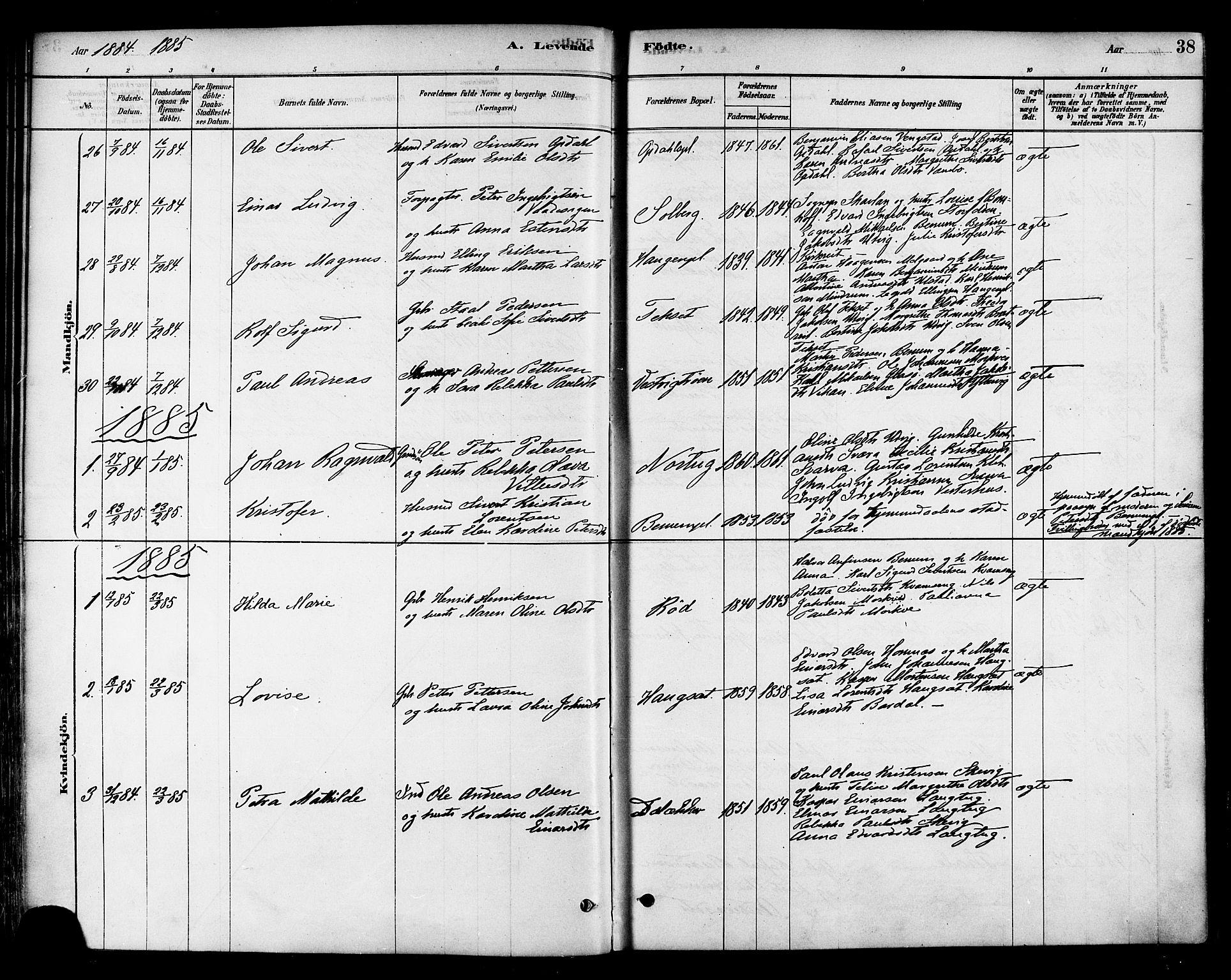 SAT, Ministerialprotokoller, klokkerbøker og fødselsregistre - Nord-Trøndelag, 741/L0395: Ministerialbok nr. 741A09, 1878-1888, s. 38
