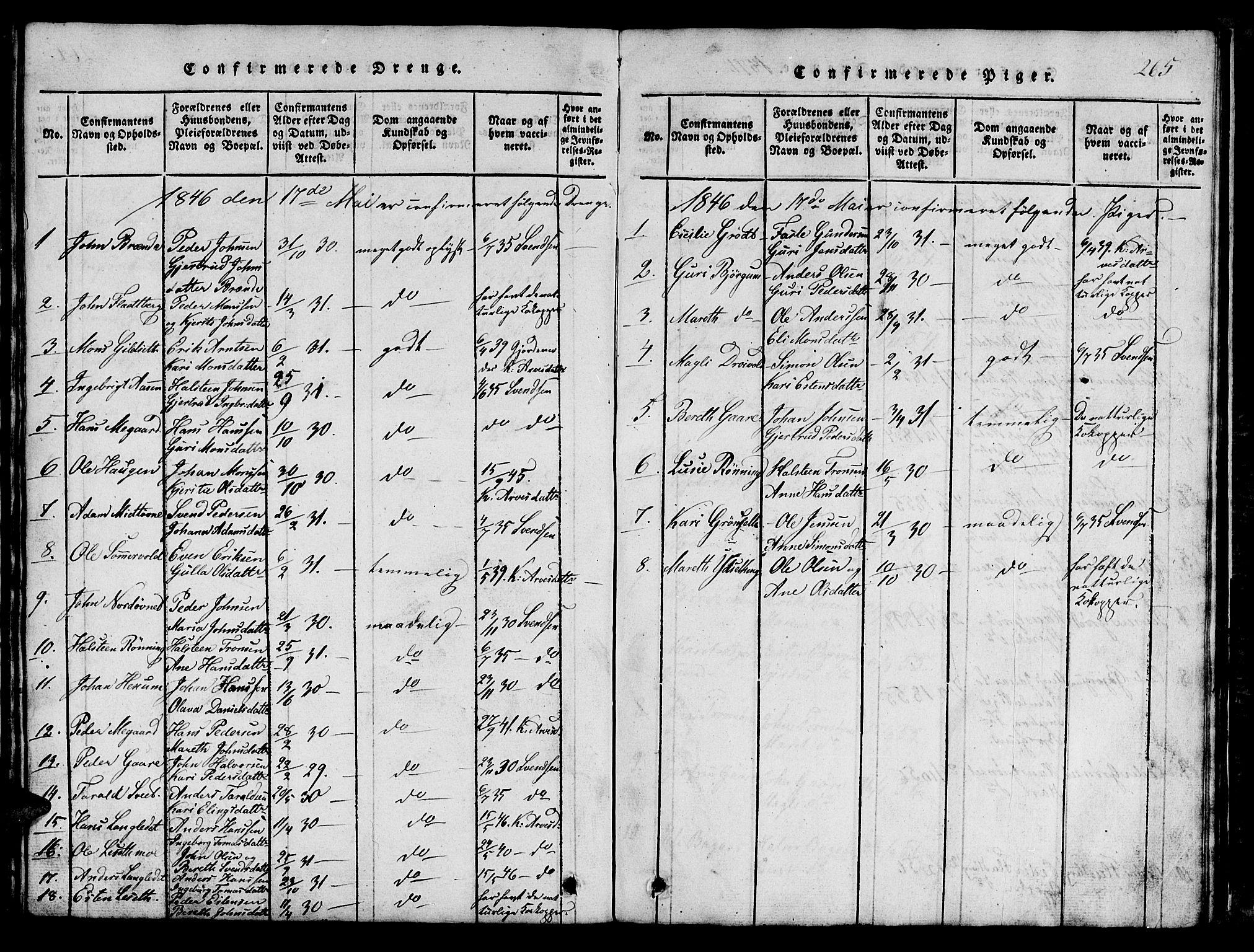 SAT, Ministerialprotokoller, klokkerbøker og fødselsregistre - Sør-Trøndelag, 685/L0976: Klokkerbok nr. 685C01, 1817-1878, s. 265