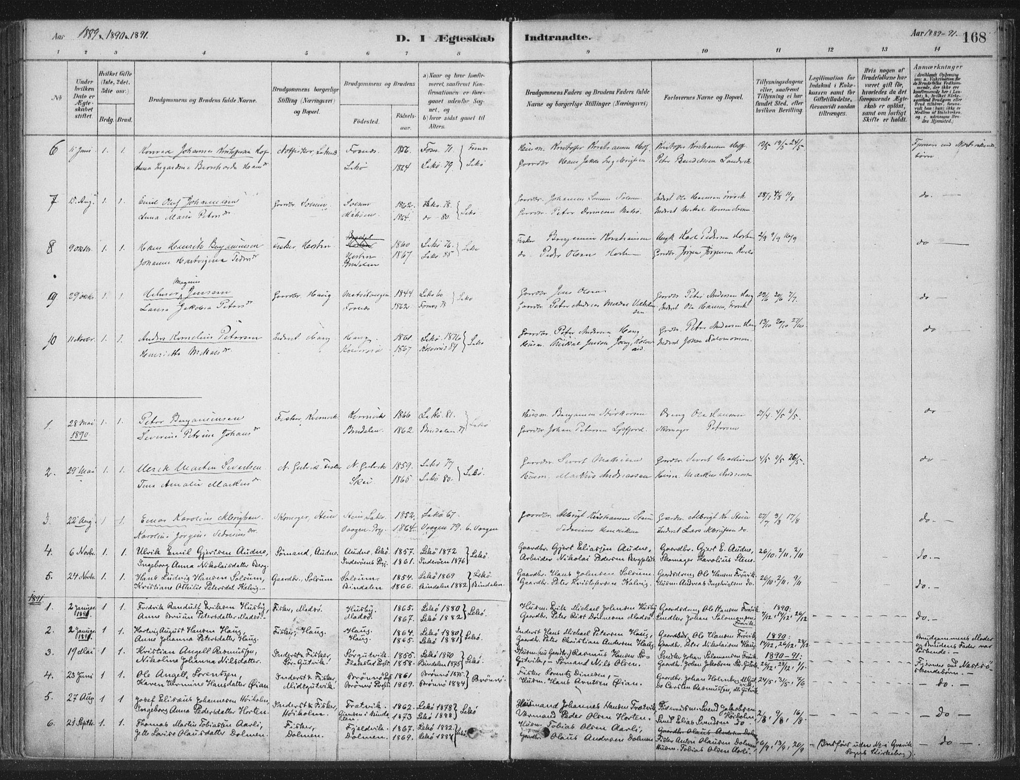 SAT, Ministerialprotokoller, klokkerbøker og fødselsregistre - Nord-Trøndelag, 788/L0697: Ministerialbok nr. 788A04, 1878-1902, s. 168