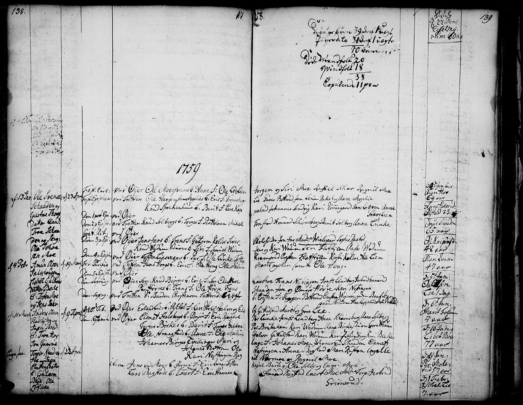 SAH, Øyer prestekontor, Ministerialbok nr. 2, 1733-1784, s. 138-139