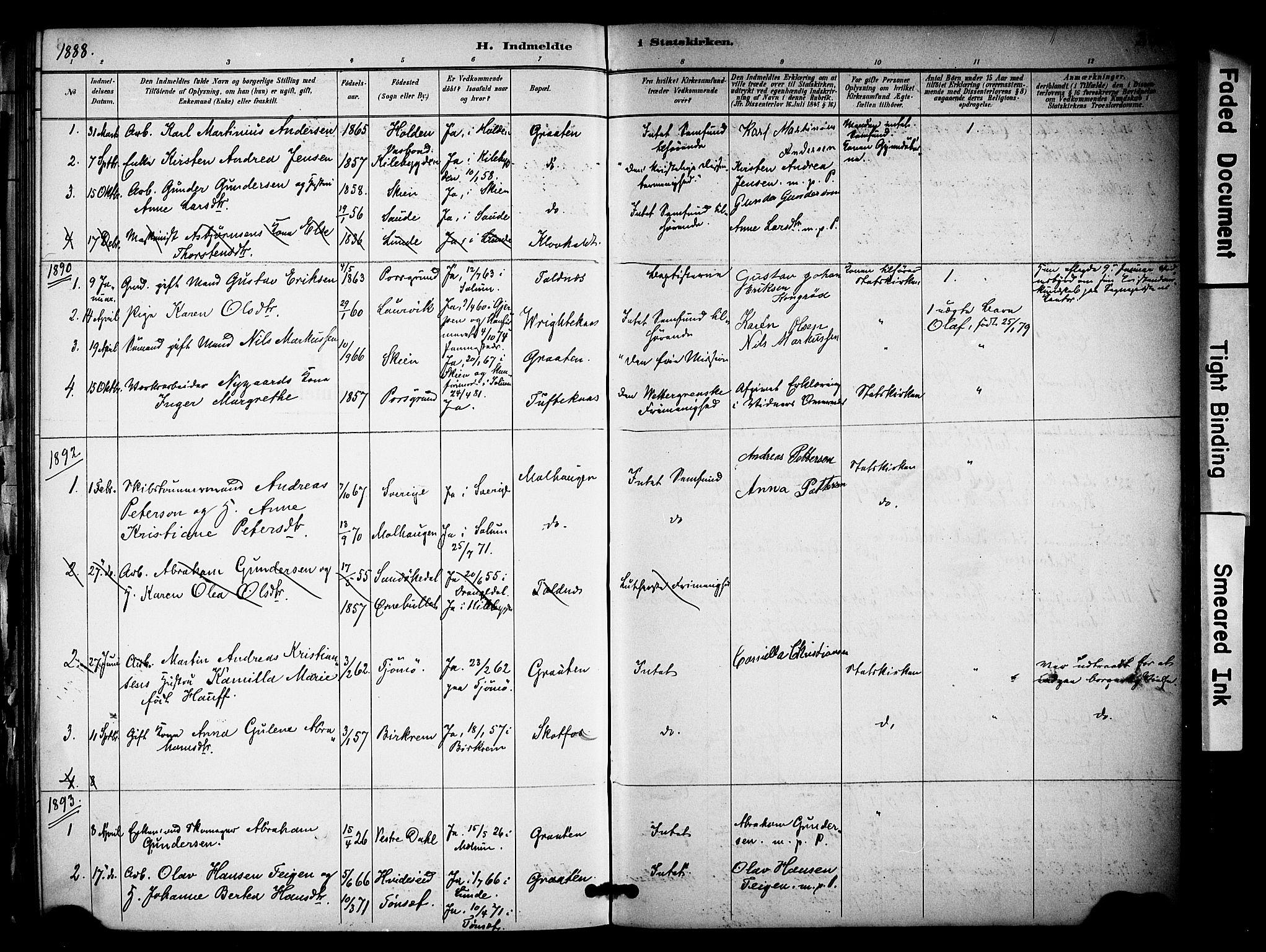 SAKO, Solum kirkebøker, F/Fa/L0010: Ministerialbok nr. I 10, 1888-1898, s. 364