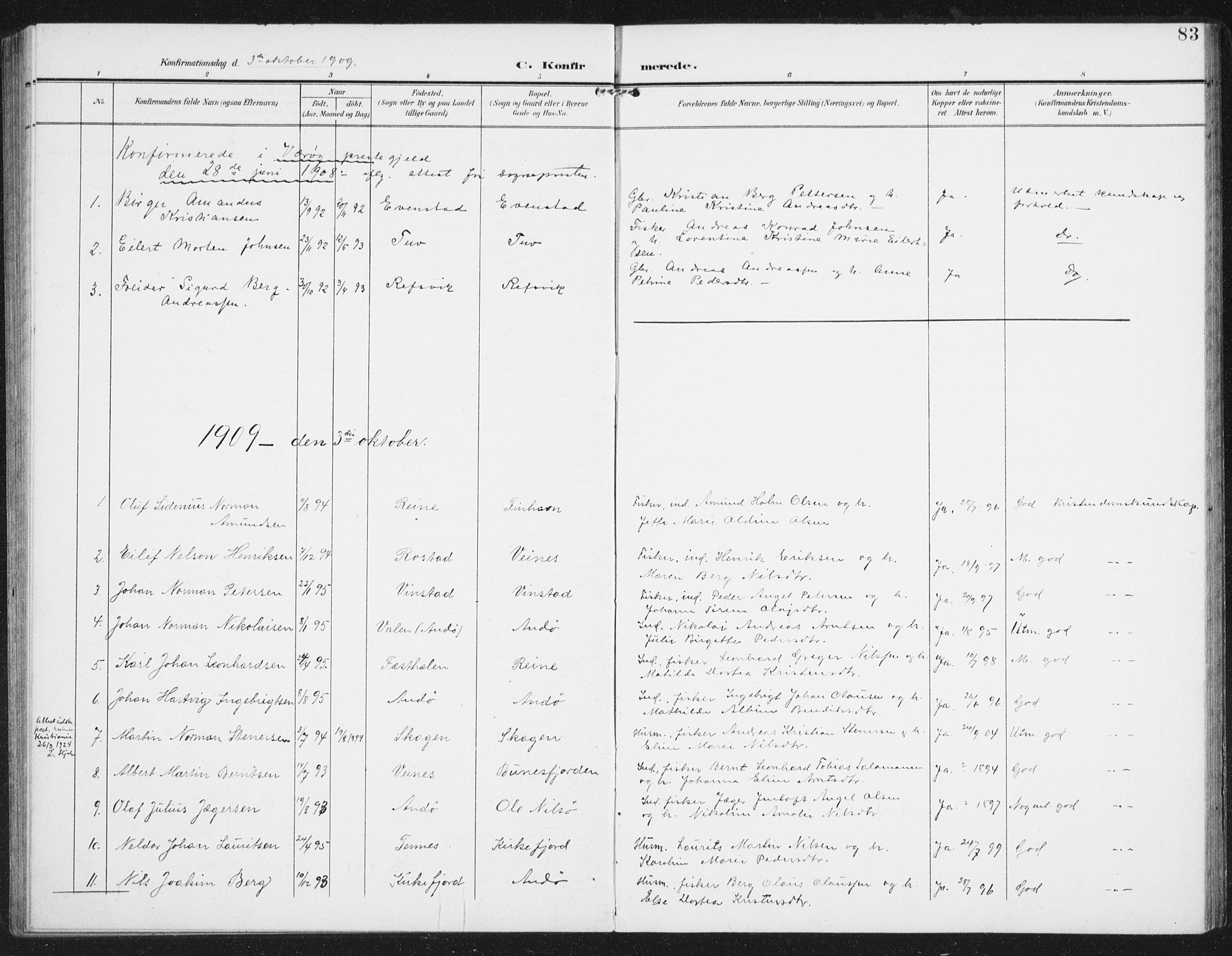 SAT, Ministerialprotokoller, klokkerbøker og fødselsregistre - Nordland, 886/L1221: Ministerialbok nr. 886A03, 1903-1913, s. 83