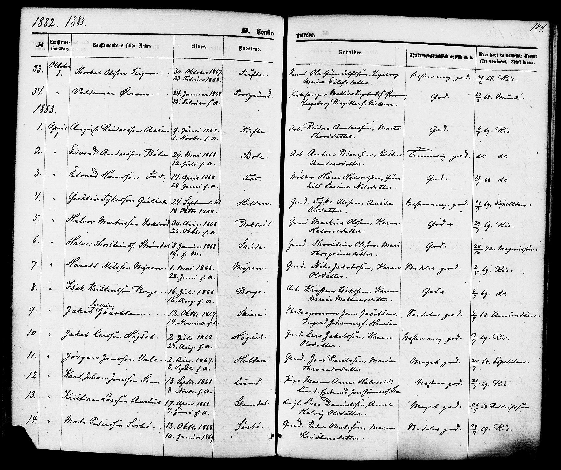SAKO, Gjerpen kirkebøker, F/Fa/L0009: Ministerialbok nr. 9, 1872-1885, s. 184