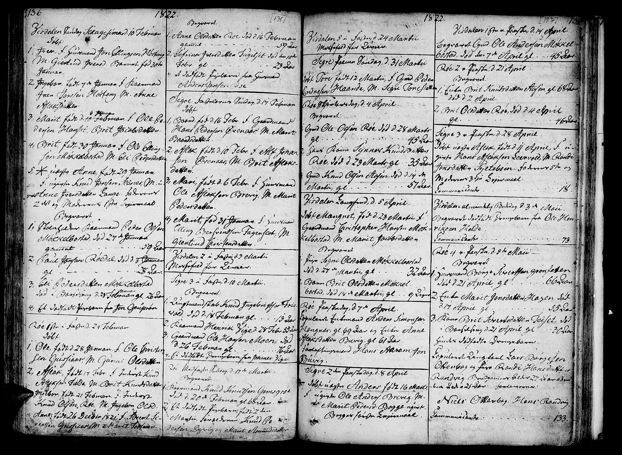 SAT, Ministerialprotokoller, klokkerbøker og fødselsregistre - Møre og Romsdal, 551/L0622: Ministerialbok nr. 551A02, 1804-1845, s. 136-137