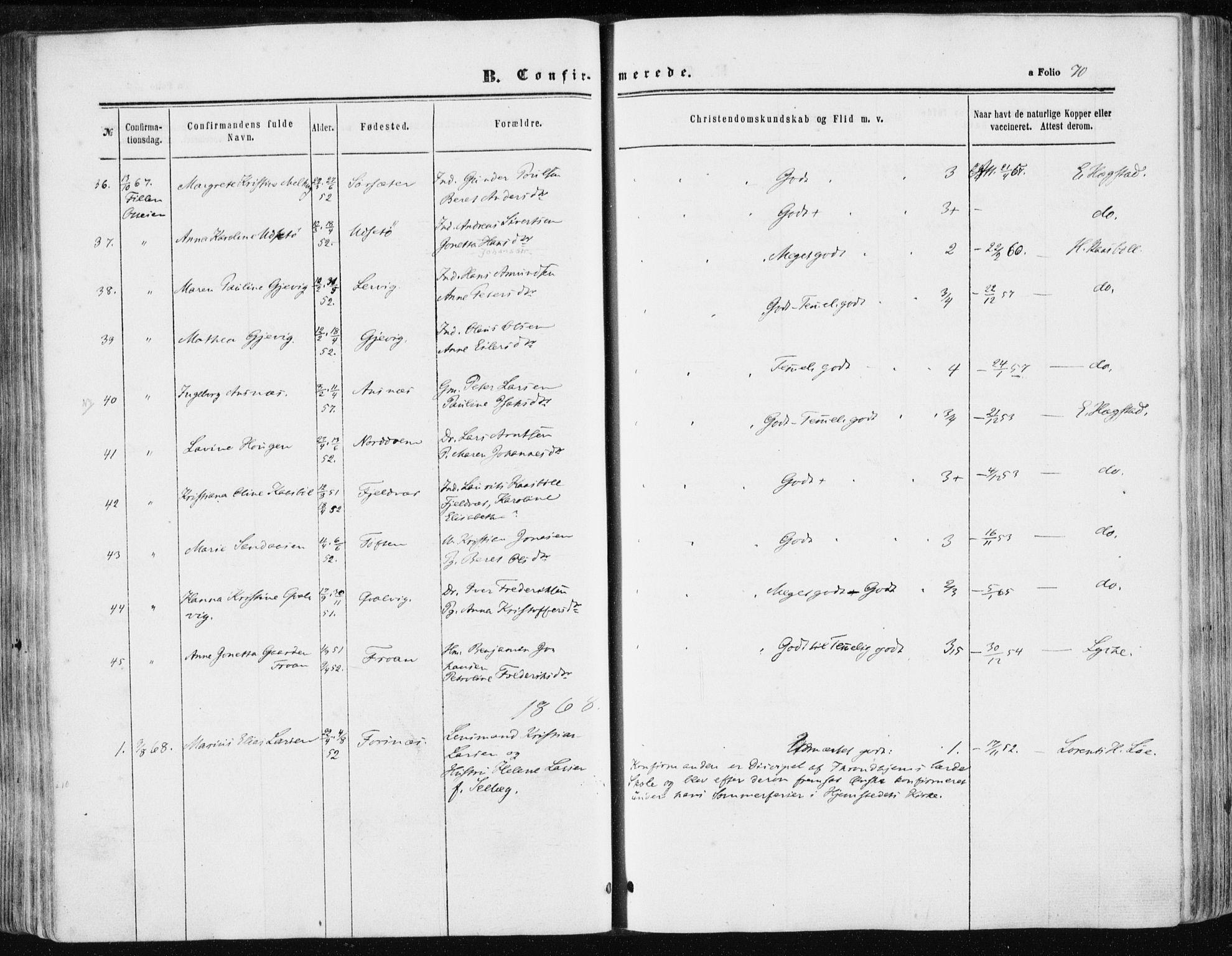 SAT, Ministerialprotokoller, klokkerbøker og fødselsregistre - Sør-Trøndelag, 634/L0531: Ministerialbok nr. 634A07, 1861-1870, s. 70