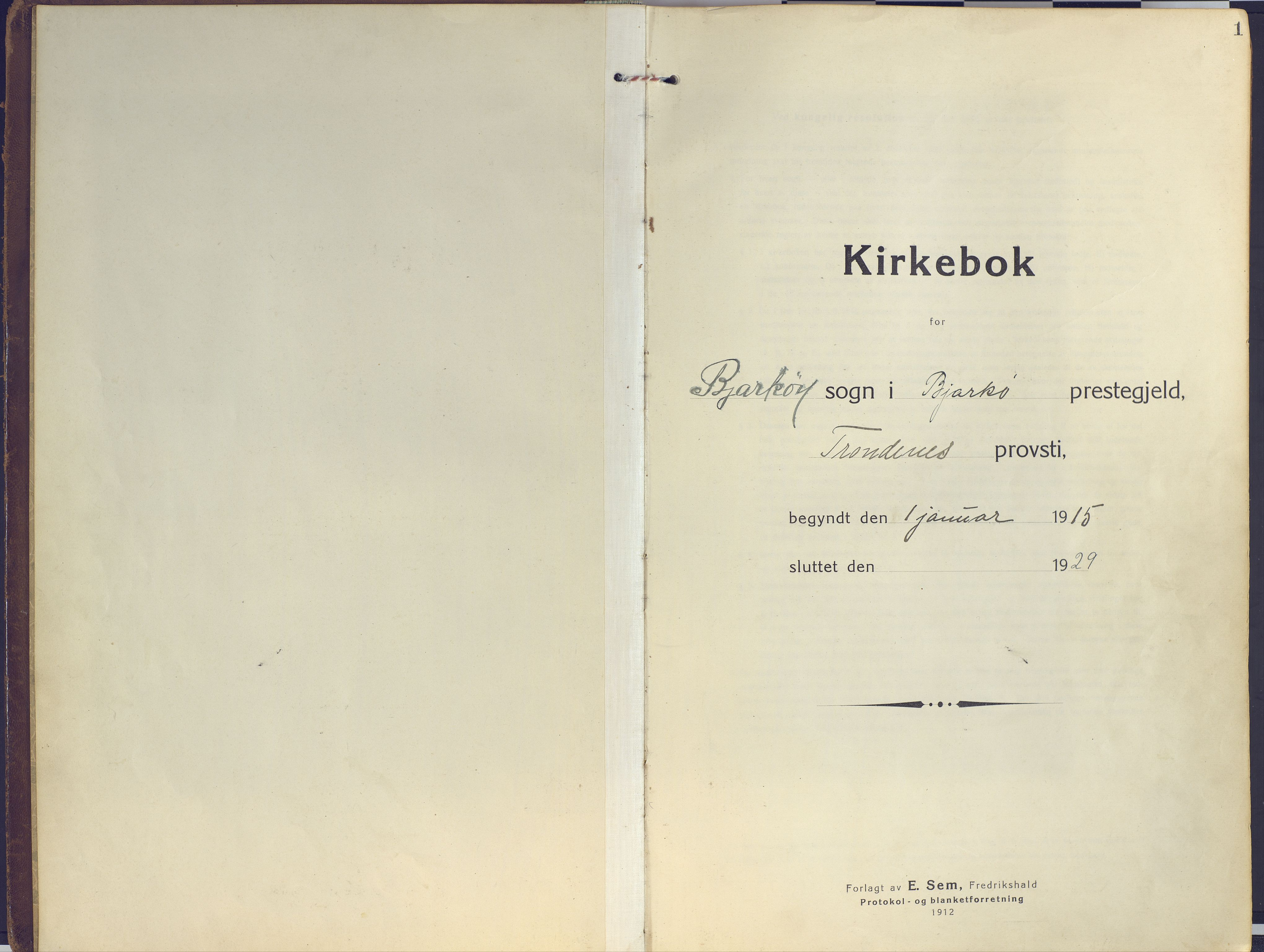SATØ, Sand/Bjarkøy sokneprestkontor, I/Ia/Iaa/L0006kirke: Ministerialbok nr. 6, 1915-1929, s. 1