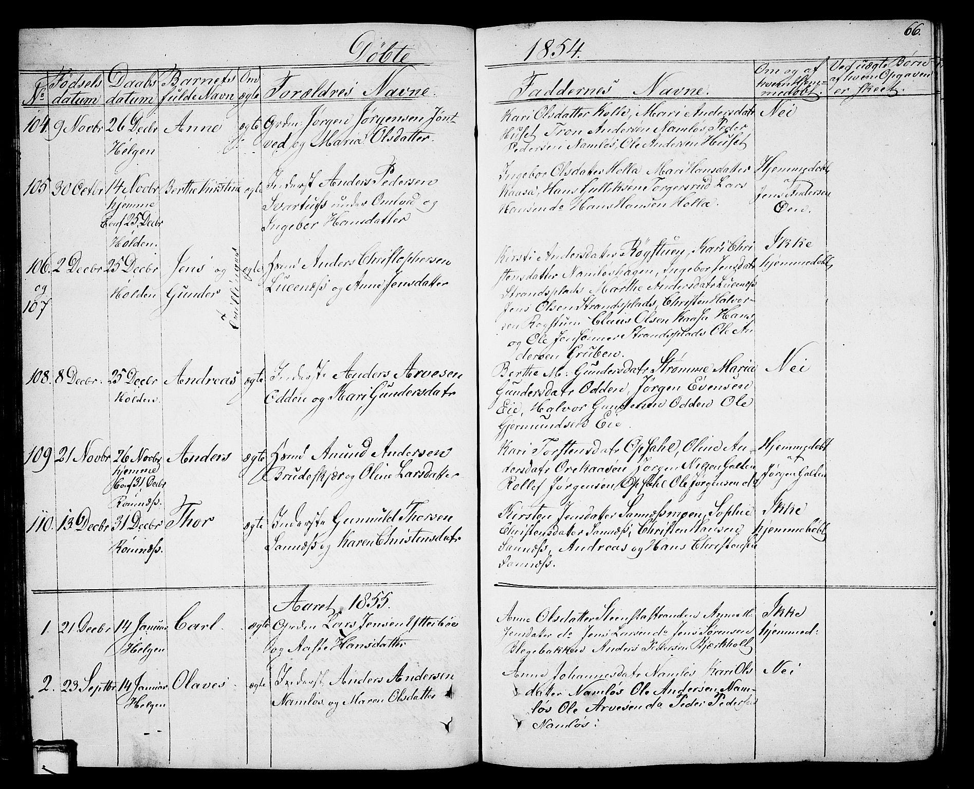 SAKO, Holla kirkebøker, G/Ga/L0003: Klokkerbok nr. I 3, 1849-1866, s. 66