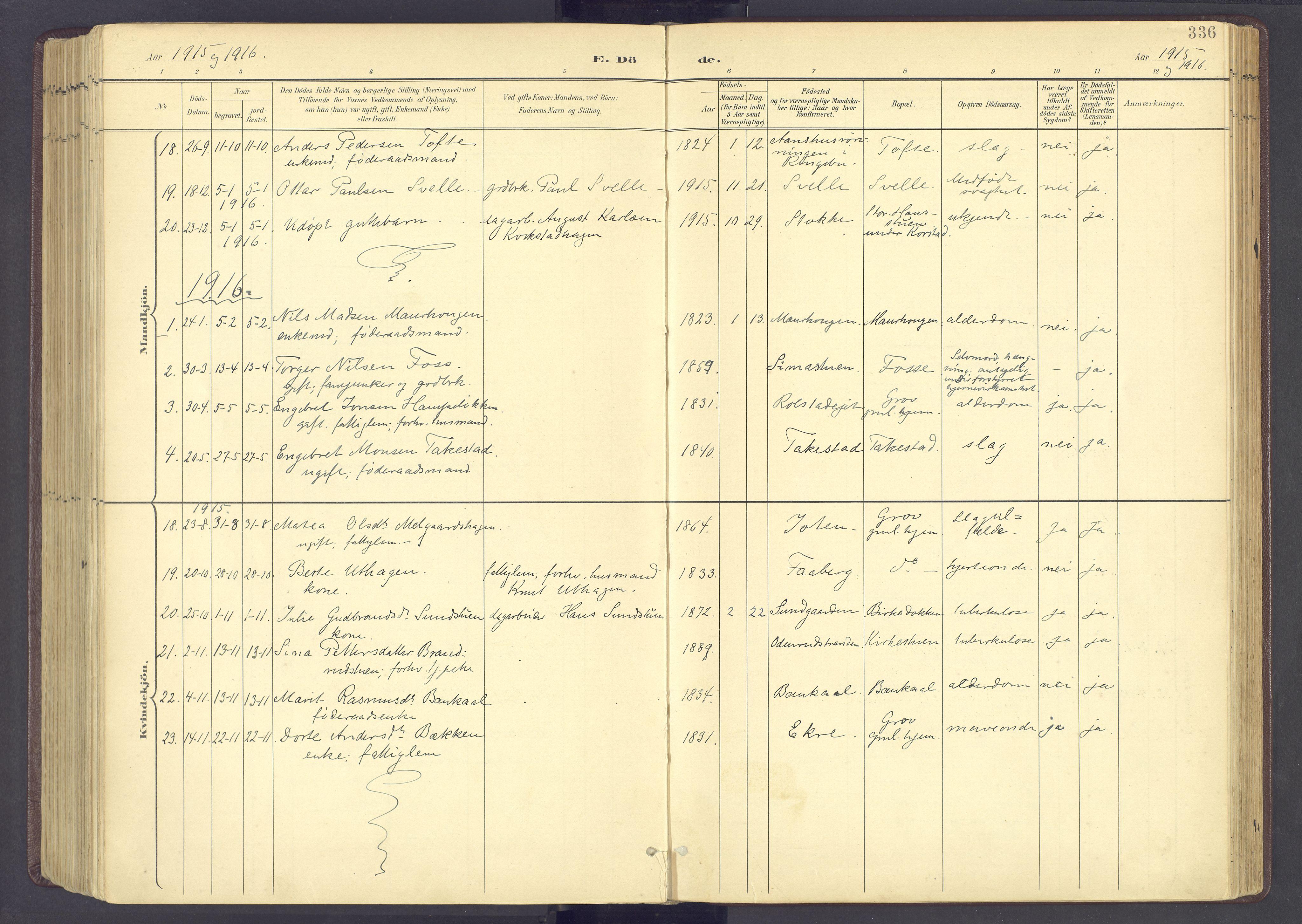 SAH, Sør-Fron prestekontor, H/Ha/Haa/L0004: Ministerialbok nr. 4, 1898-1919, s. 336