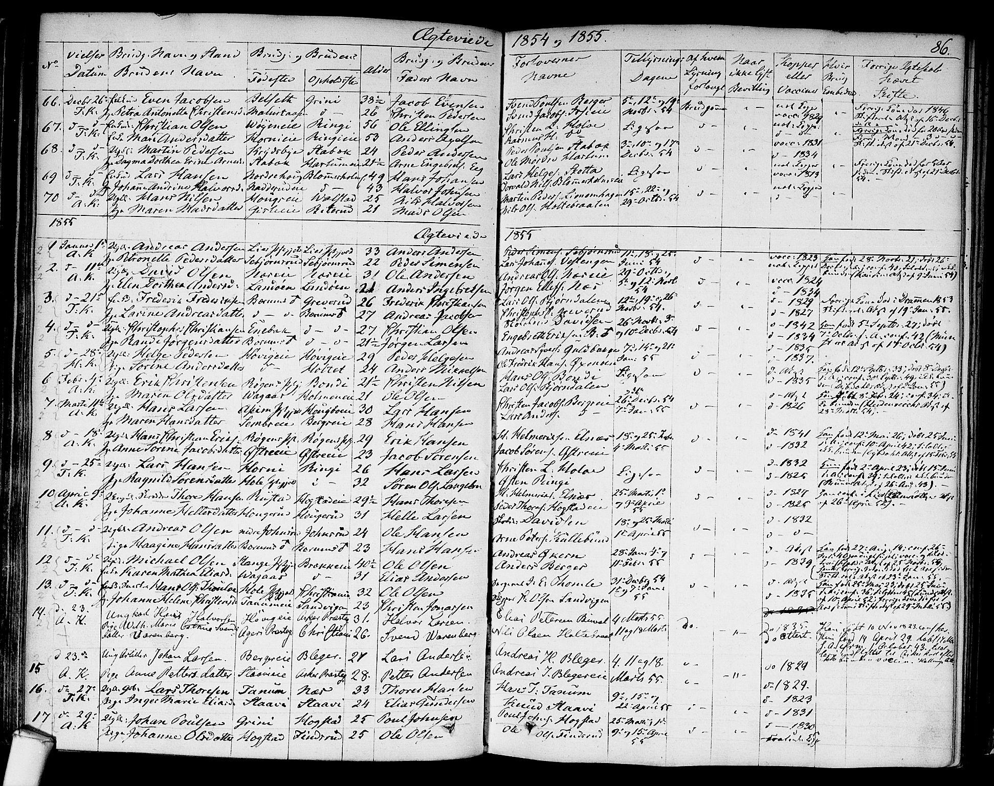 SAO, Asker prestekontor Kirkebøker, F/Fa/L0010: Ministerialbok nr. I 10, 1825-1878, s. 86