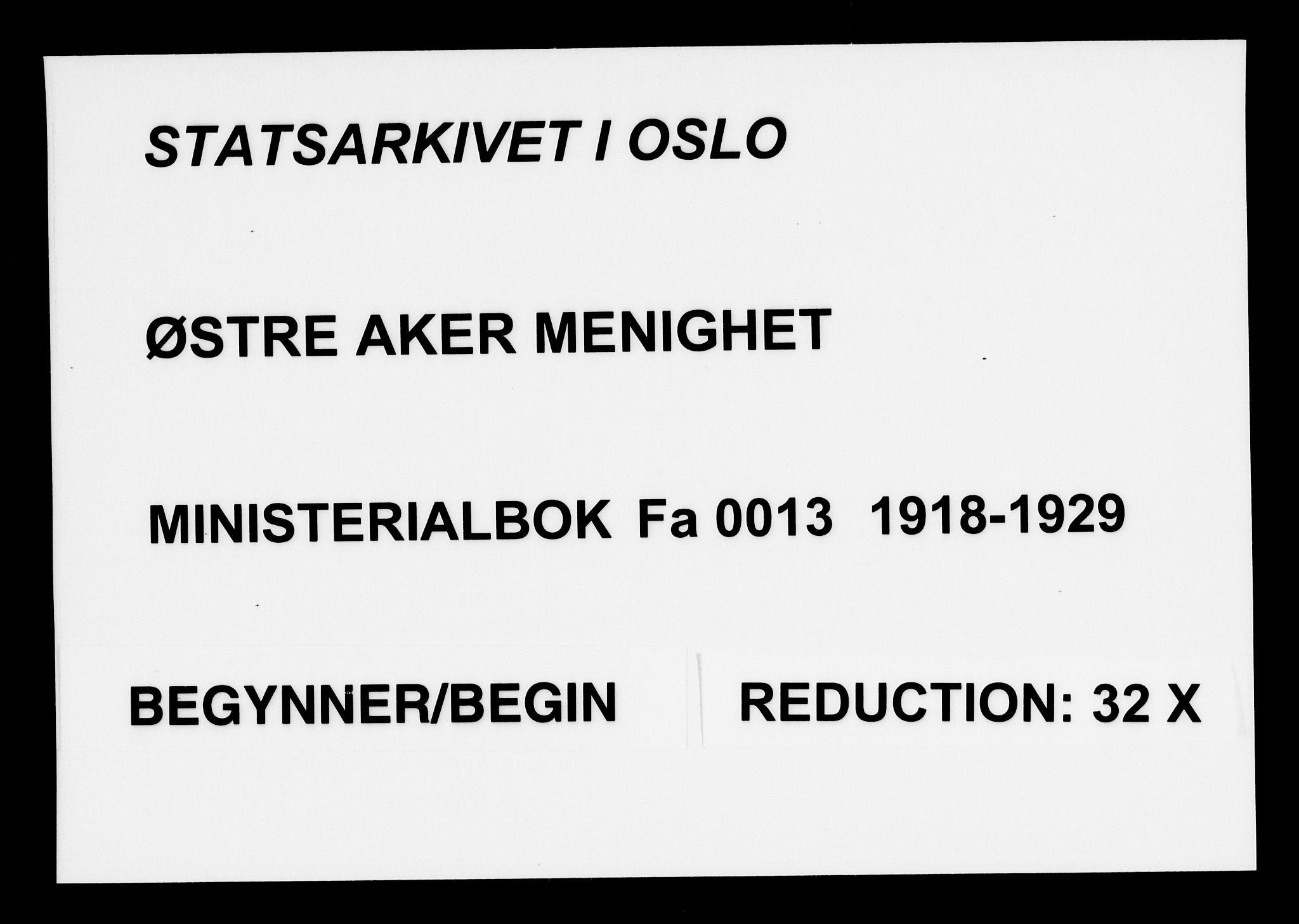 SAO, Østre Aker prestekontor Kirkebøker, F/Fa/L0013: Ministerialbok nr. I 13, 1918-1929