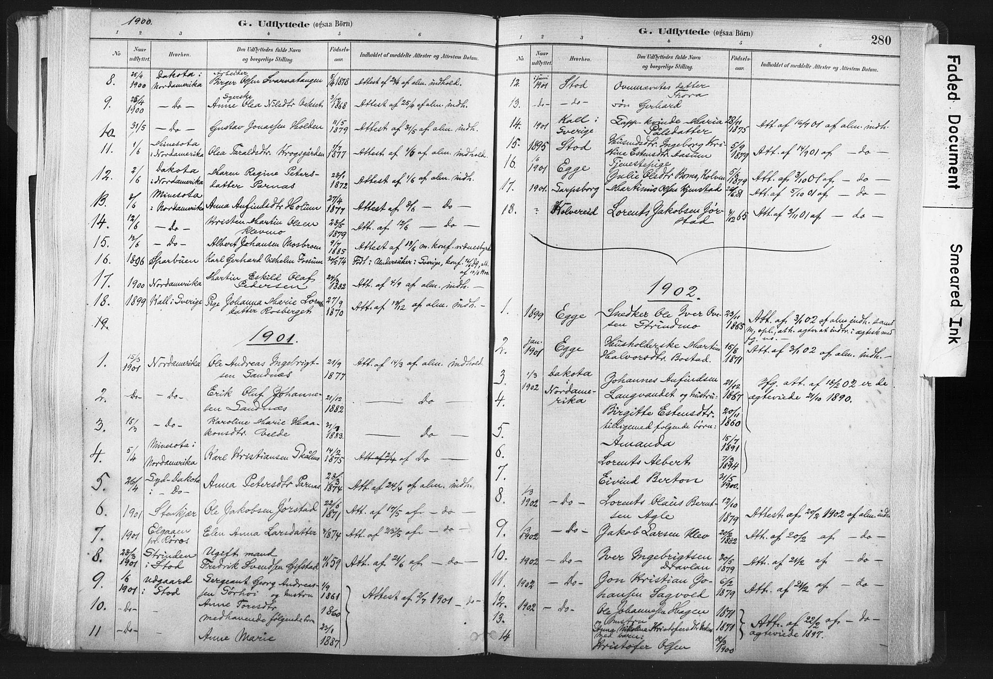 SAT, Ministerialprotokoller, klokkerbøker og fødselsregistre - Nord-Trøndelag, 749/L0474: Ministerialbok nr. 749A08, 1887-1903, s. 280