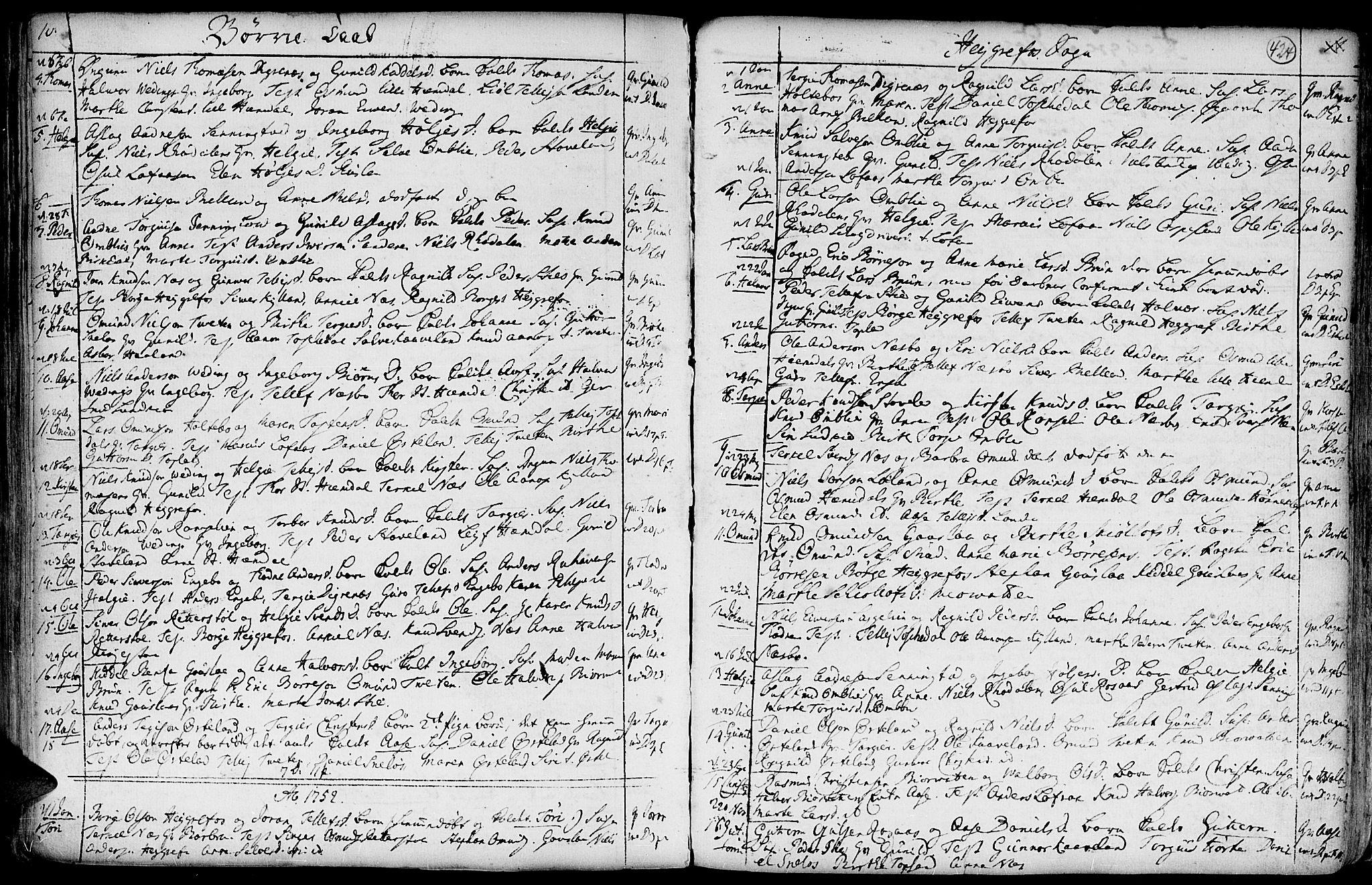SAK, Hommedal sokneprestkontor, F/Fa/Fab/L0002: Ministerialbok nr. A 2 /3, 1740-1821, s. 424