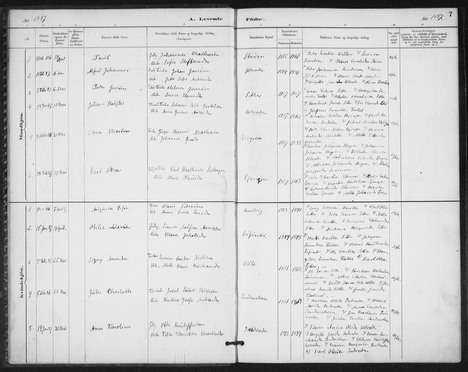 SAT, Ministerialprotokoller, klokkerbøker og fødselsregistre - Nord-Trøndelag, 772/L0603: Ministerialbok nr. 772A01, 1885-1912, s. 7
