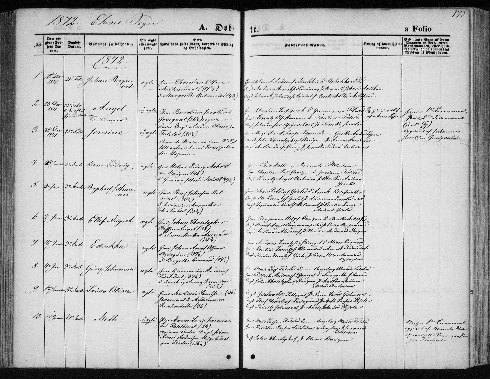 SAT, Ministerialprotokoller, klokkerbøker og fødselsregistre - Nord-Trøndelag, 717/L0158: Ministerialbok nr. 717A08 /2, 1863-1877, s. 173