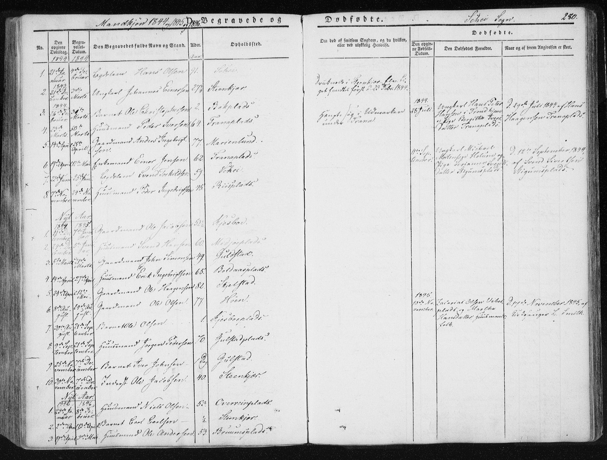 SAT, Ministerialprotokoller, klokkerbøker og fødselsregistre - Nord-Trøndelag, 735/L0339: Ministerialbok nr. 735A06 /2, 1836-1848, s. 280