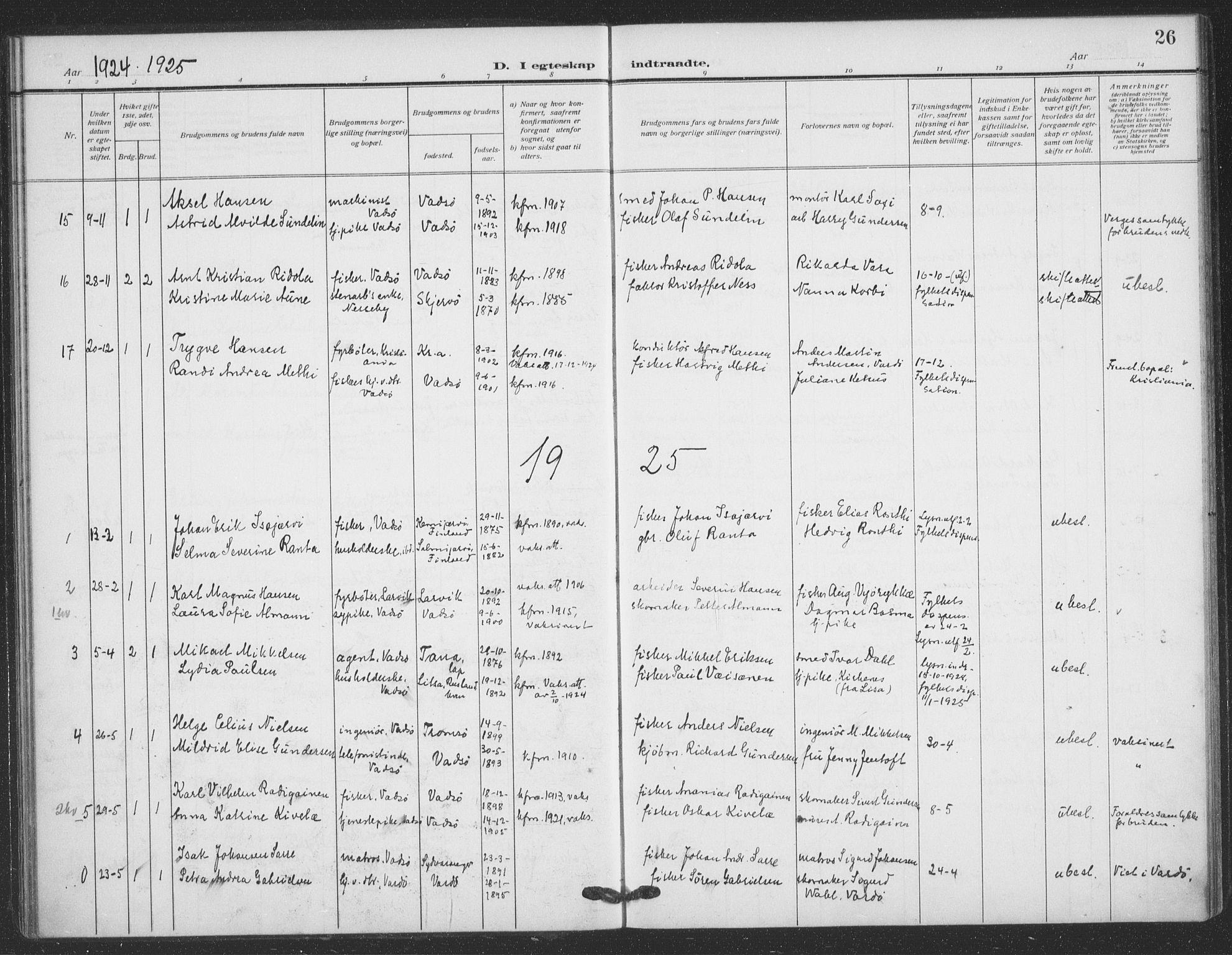 SATØ, Vadsø sokneprestkontor, H/Ha/L0008kirke: Ministerialbok nr. 8, 1912-1930, s. 26