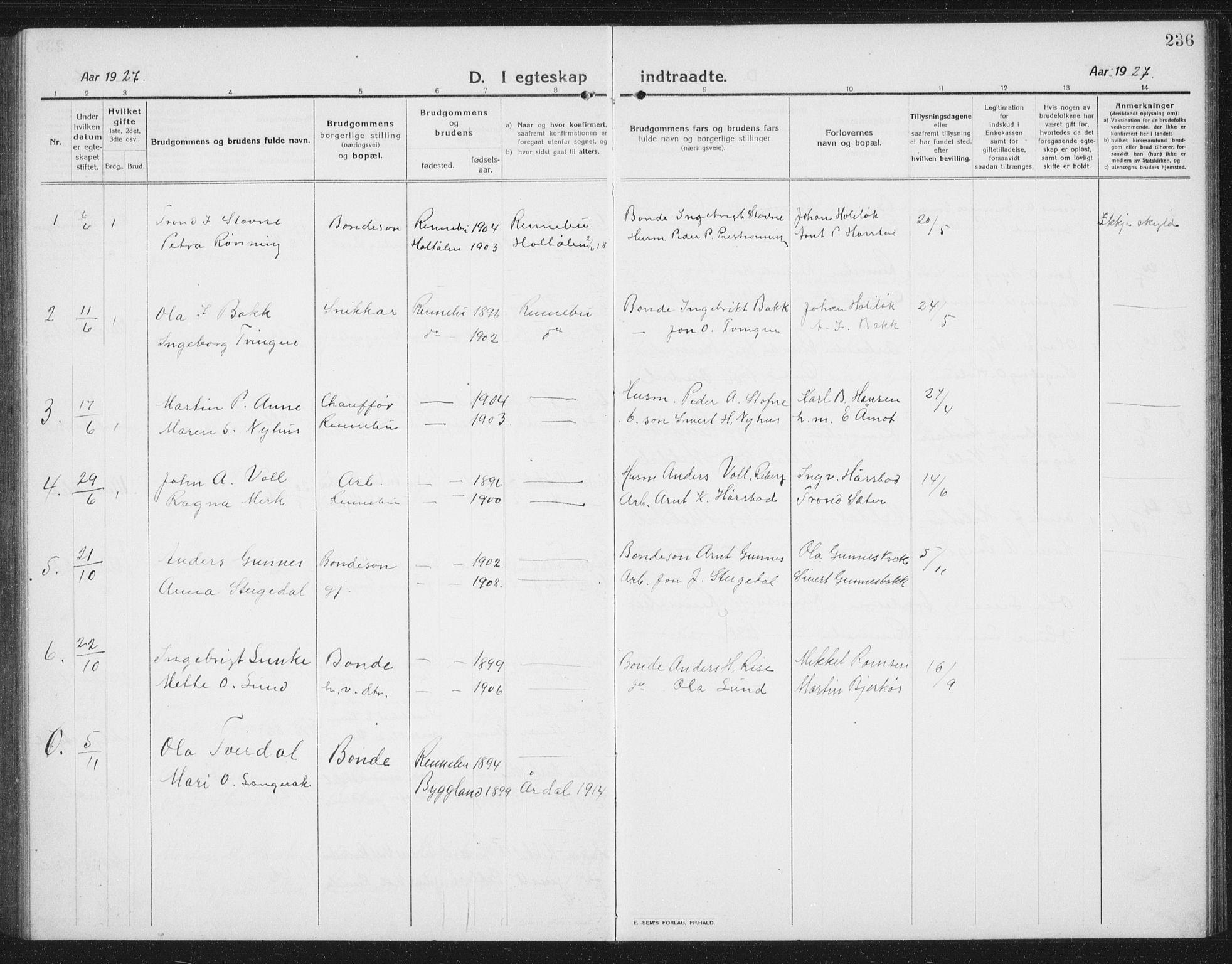 SAT, Ministerialprotokoller, klokkerbøker og fødselsregistre - Sør-Trøndelag, 674/L0877: Klokkerbok nr. 674C04, 1913-1940, s. 236