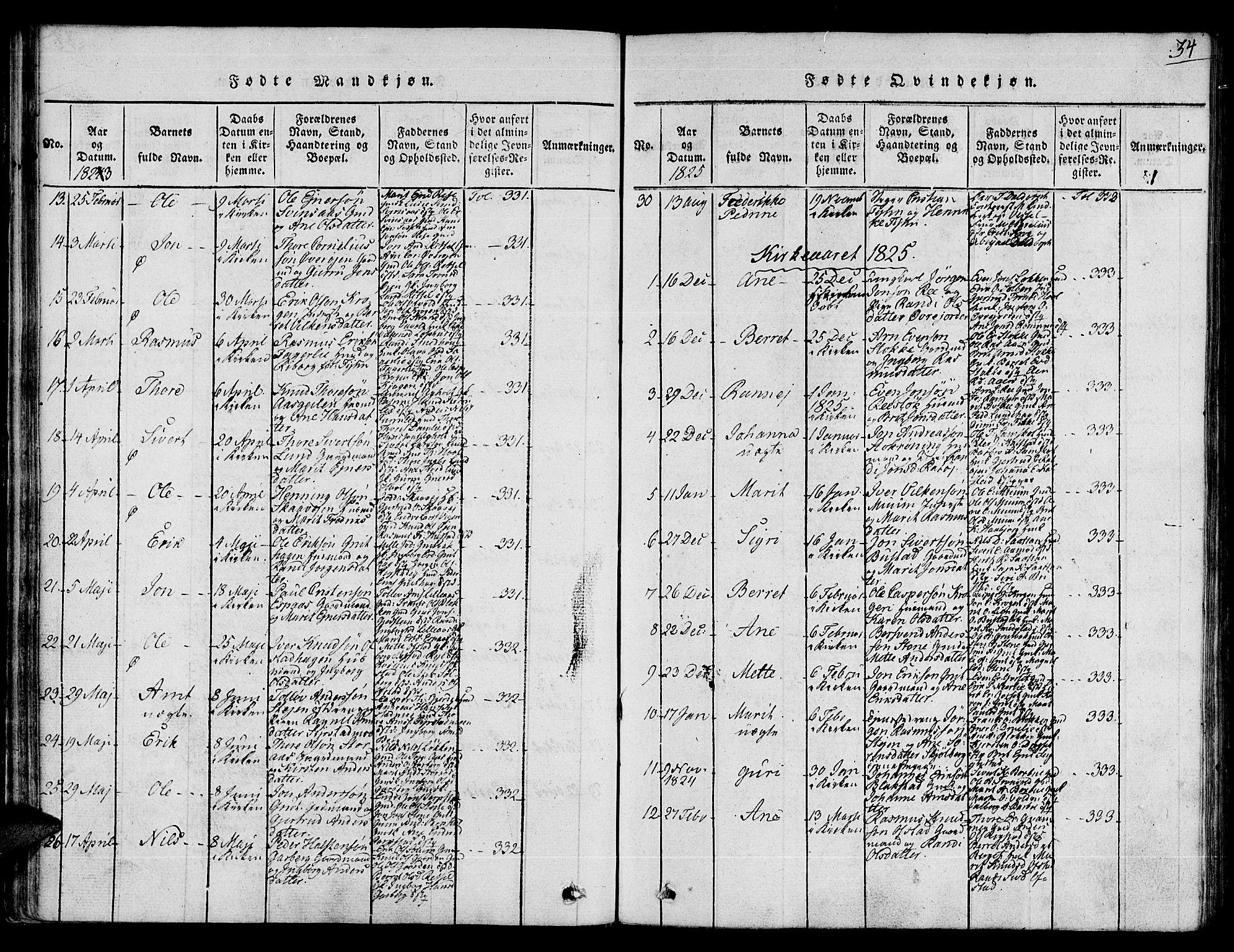SAT, Ministerialprotokoller, klokkerbøker og fødselsregistre - Sør-Trøndelag, 672/L0853: Ministerialbok nr. 672A06 /1, 1816-1829, s. 34