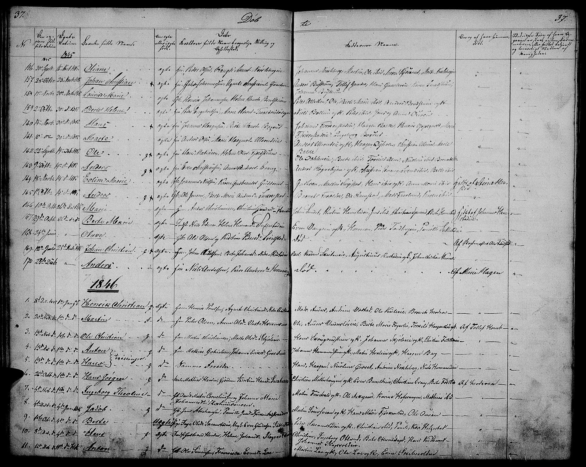 SAH, Østre Toten prestekontor, Klokkerbok nr. 2, 1840-1847, s. 37