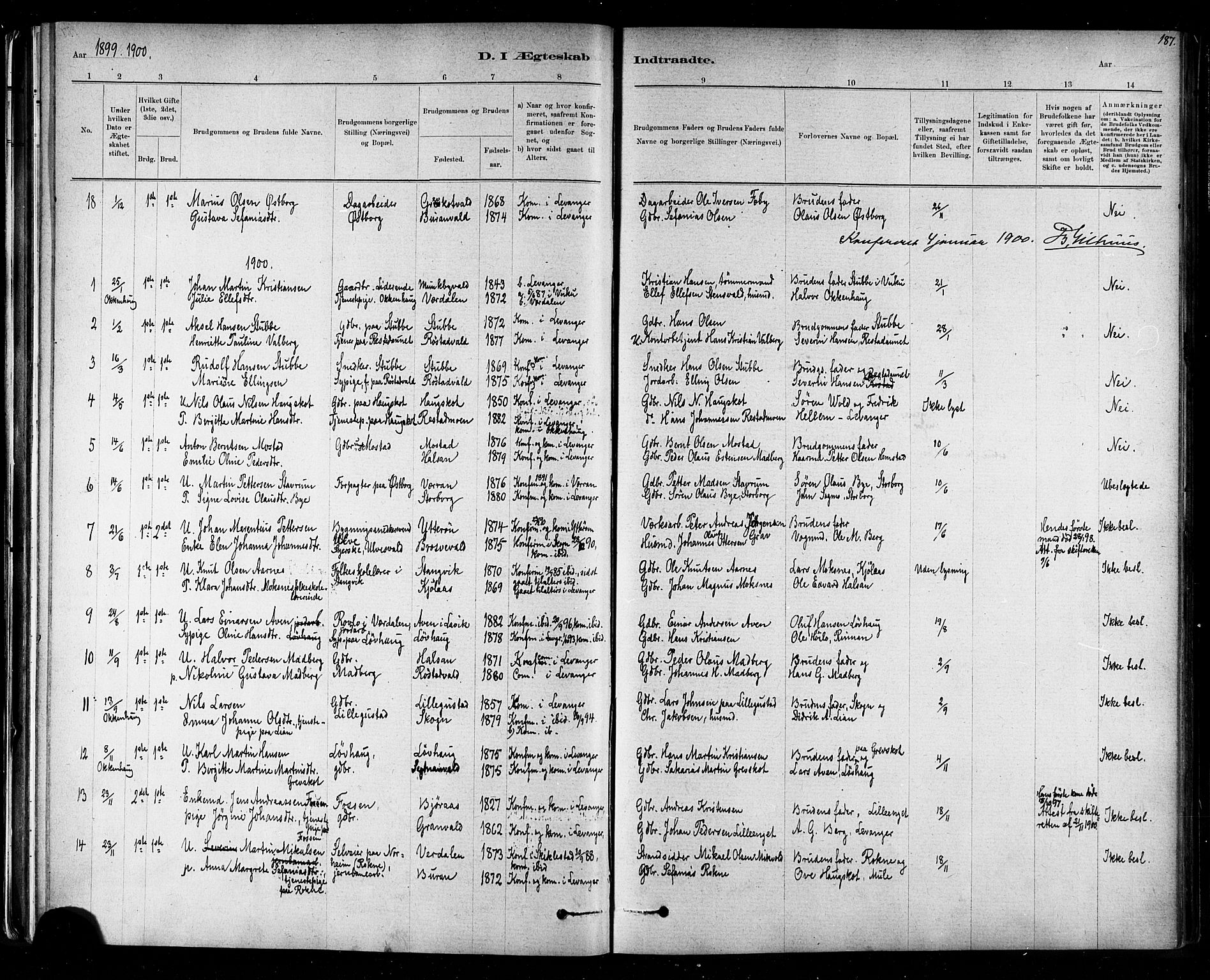 SAT, Ministerialprotokoller, klokkerbøker og fødselsregistre - Nord-Trøndelag, 721/L0208: Klokkerbok nr. 721C01, 1880-1917, s. 187