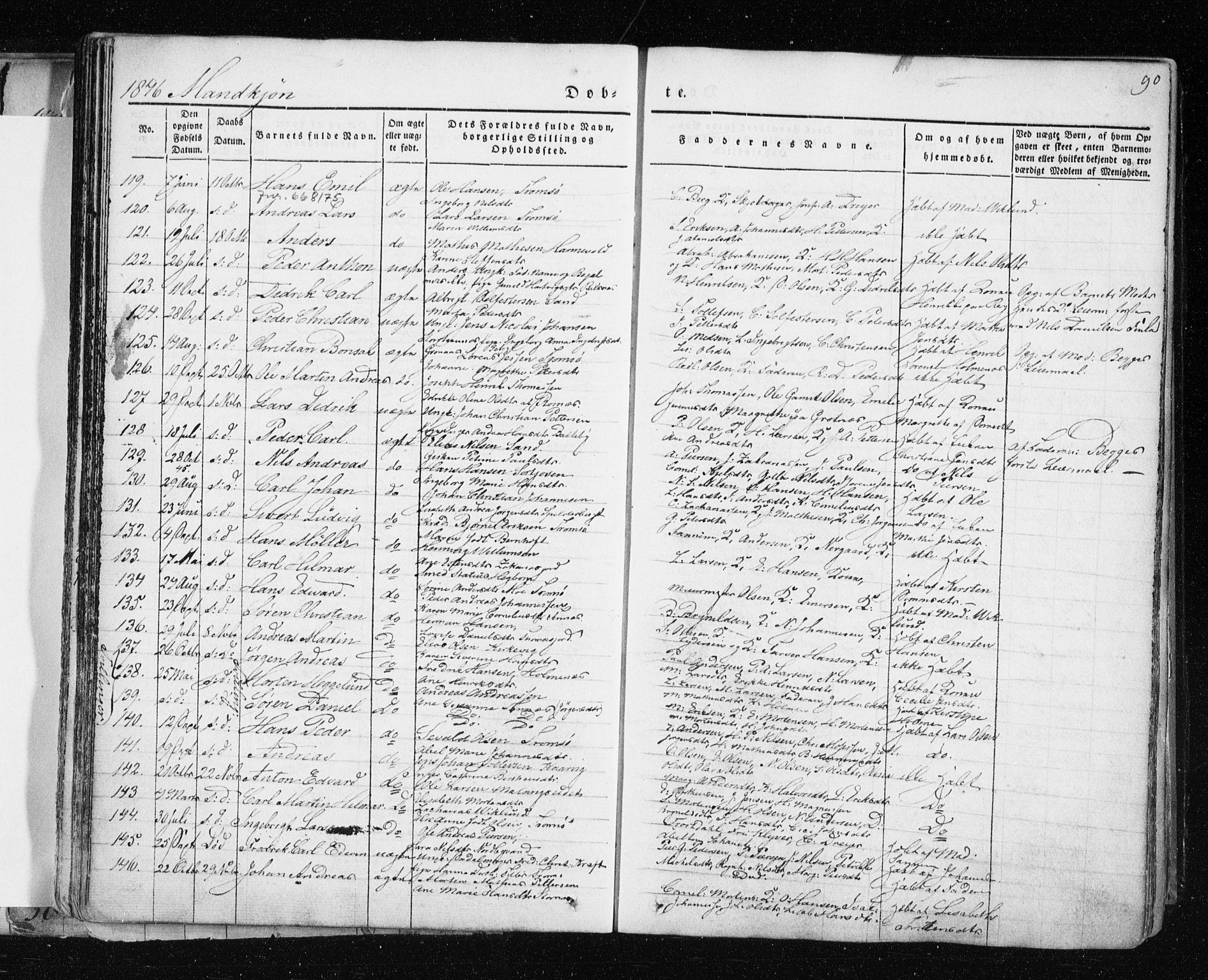 SATØ, Tromsø sokneprestkontor/stiftsprosti/domprosti, G/Ga/L0009kirke: Ministerialbok nr. 9, 1837-1847, s. 90