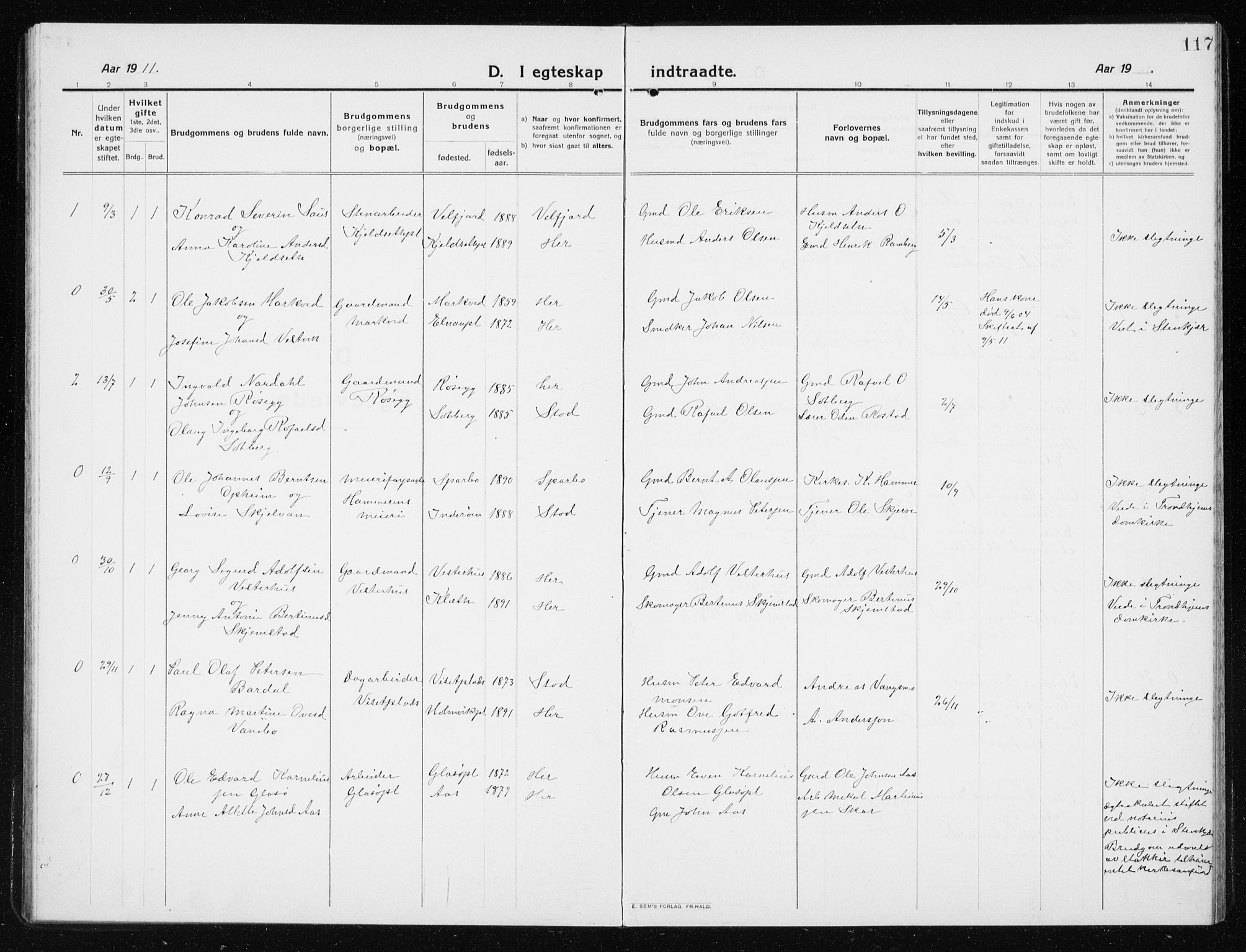 SAT, Ministerialprotokoller, klokkerbøker og fødselsregistre - Nord-Trøndelag, 741/L0402: Klokkerbok nr. 741C03, 1911-1926, s. 117
