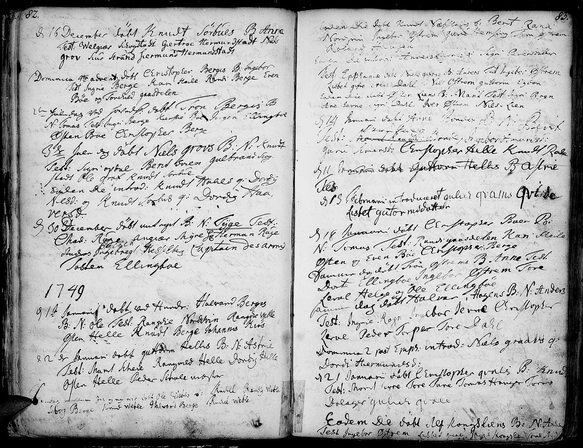 SAH, Vang prestekontor, Valdres, Ministerialbok nr. 1, 1730-1796, s. 82-83