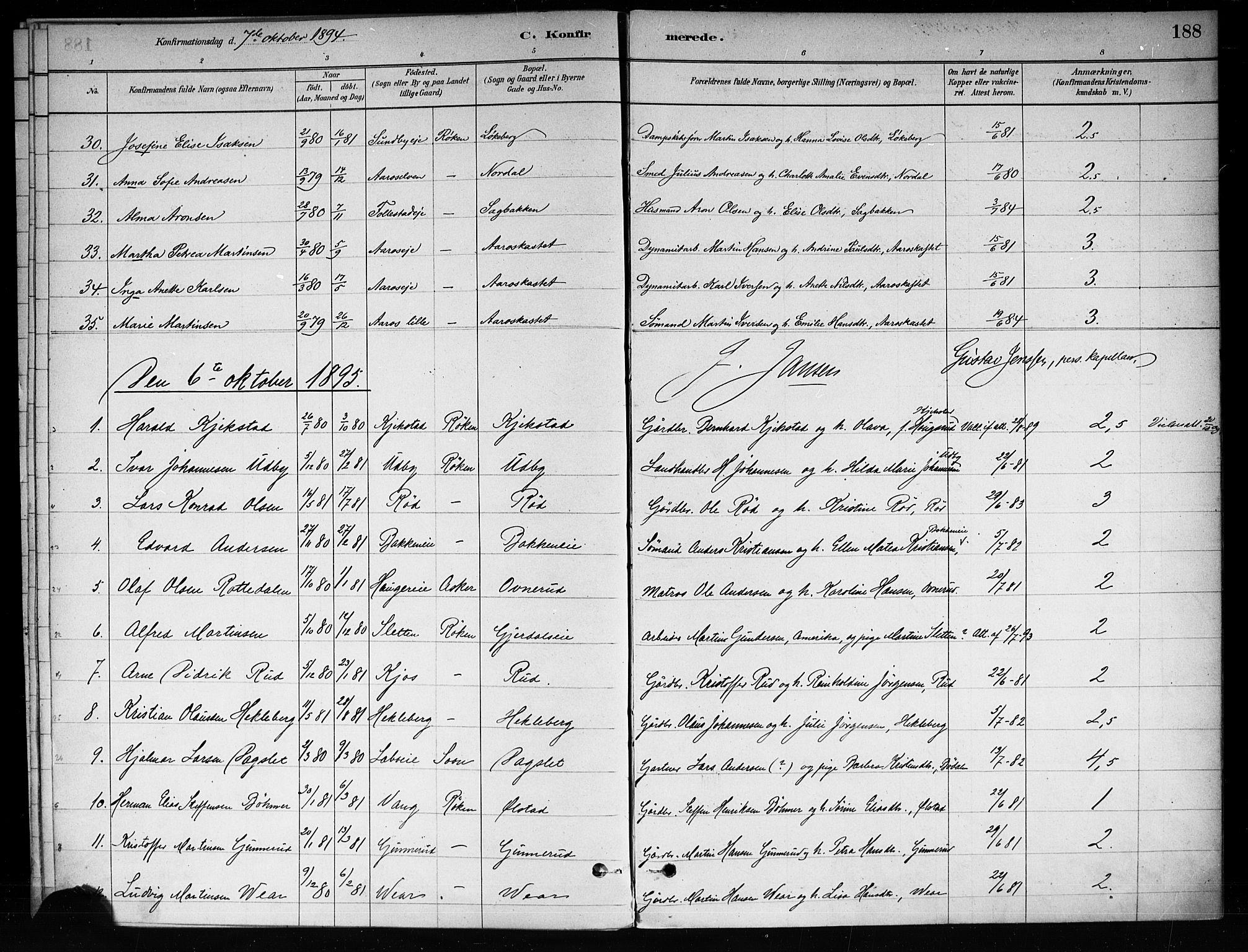 SAKO, Røyken kirkebøker, F/Fa/L0008: Ministerialbok nr. 8, 1880-1897, s. 188