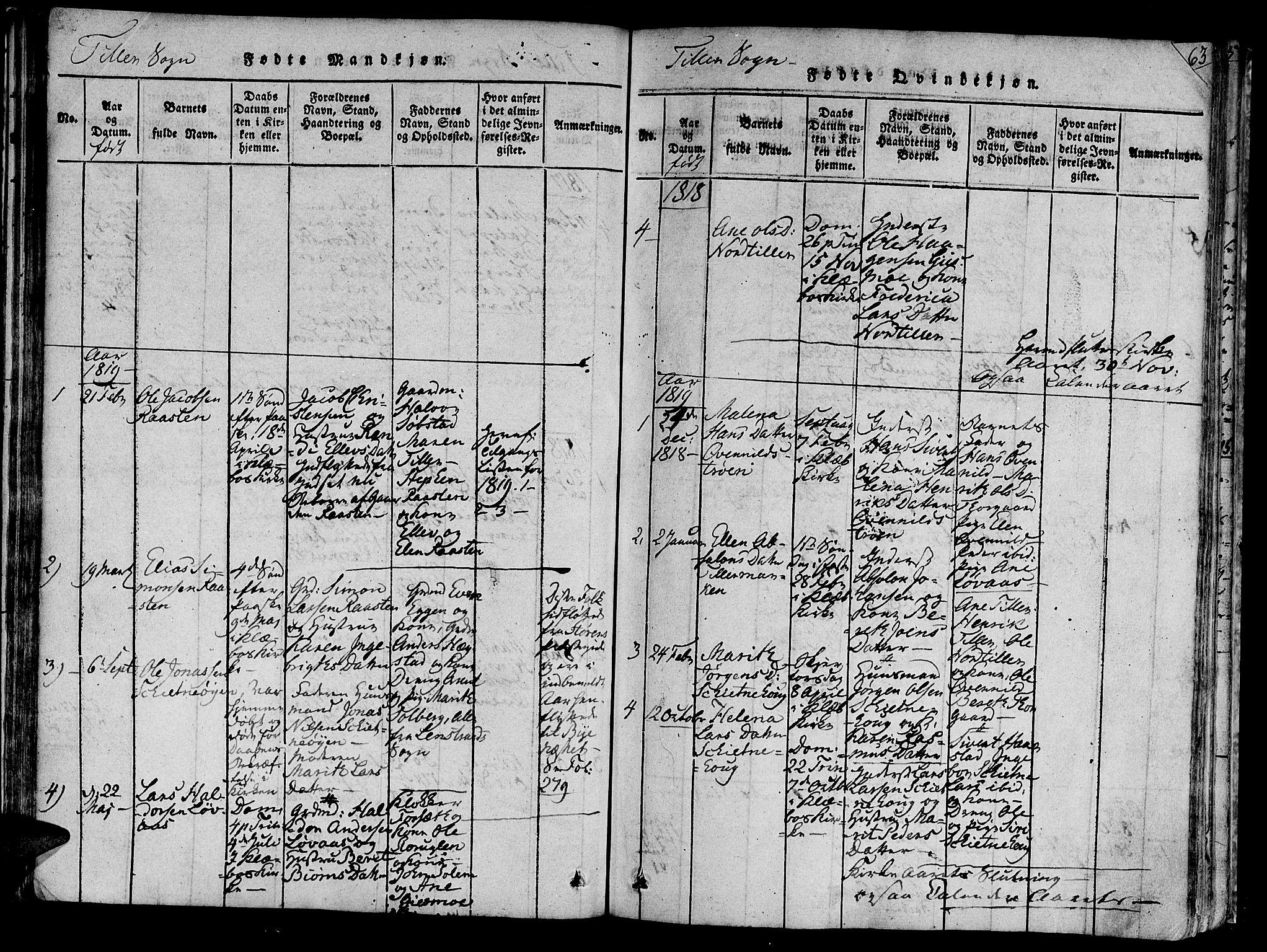 SAT, Ministerialprotokoller, klokkerbøker og fødselsregistre - Sør-Trøndelag, 618/L0440: Ministerialbok nr. 618A04 /2, 1816-1843, s. 63
