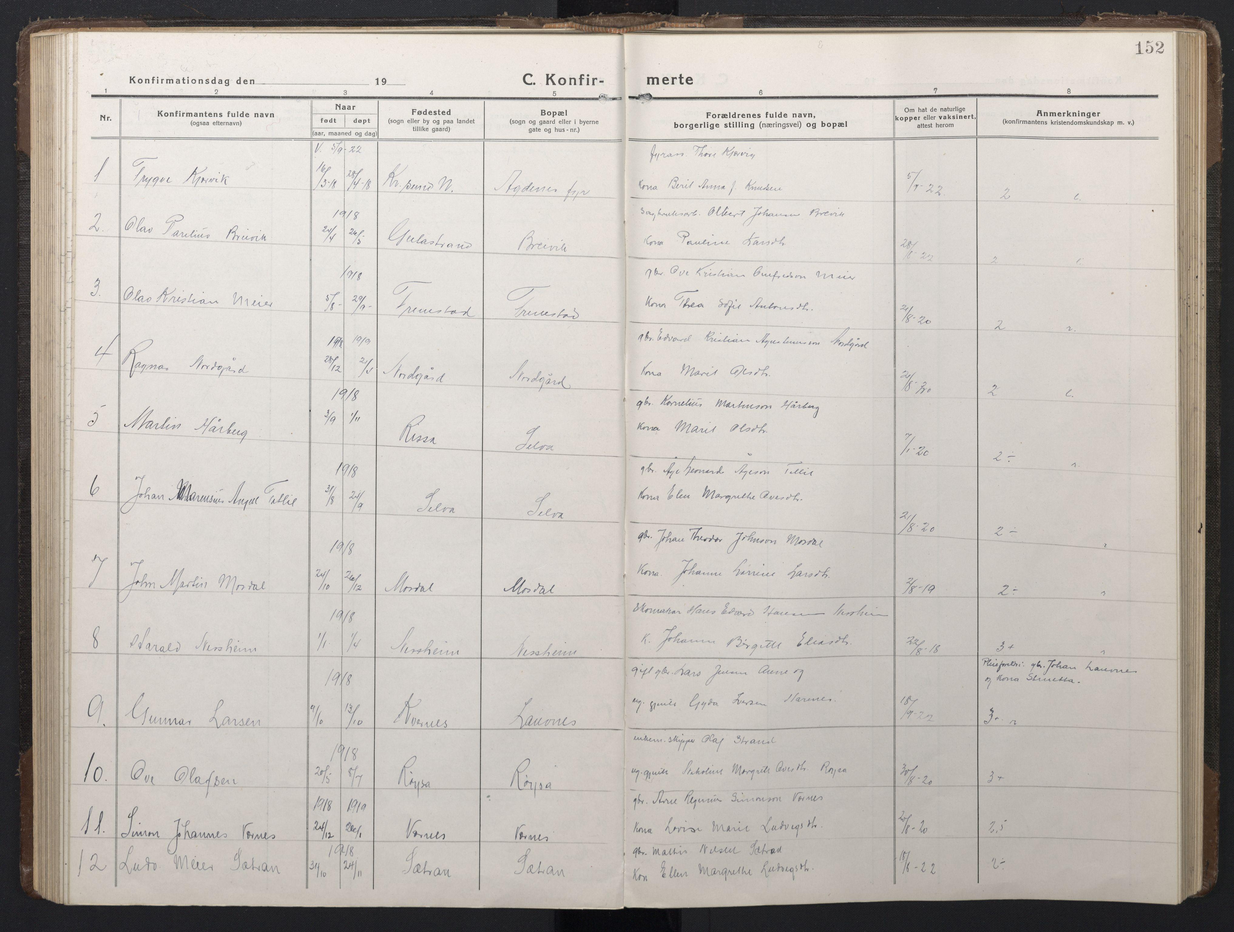 SAT, Ministerialprotokoller, klokkerbøker og fødselsregistre - Sør-Trøndelag, 662/L0758: Klokkerbok nr. 662C03, 1918-1948, s. 152