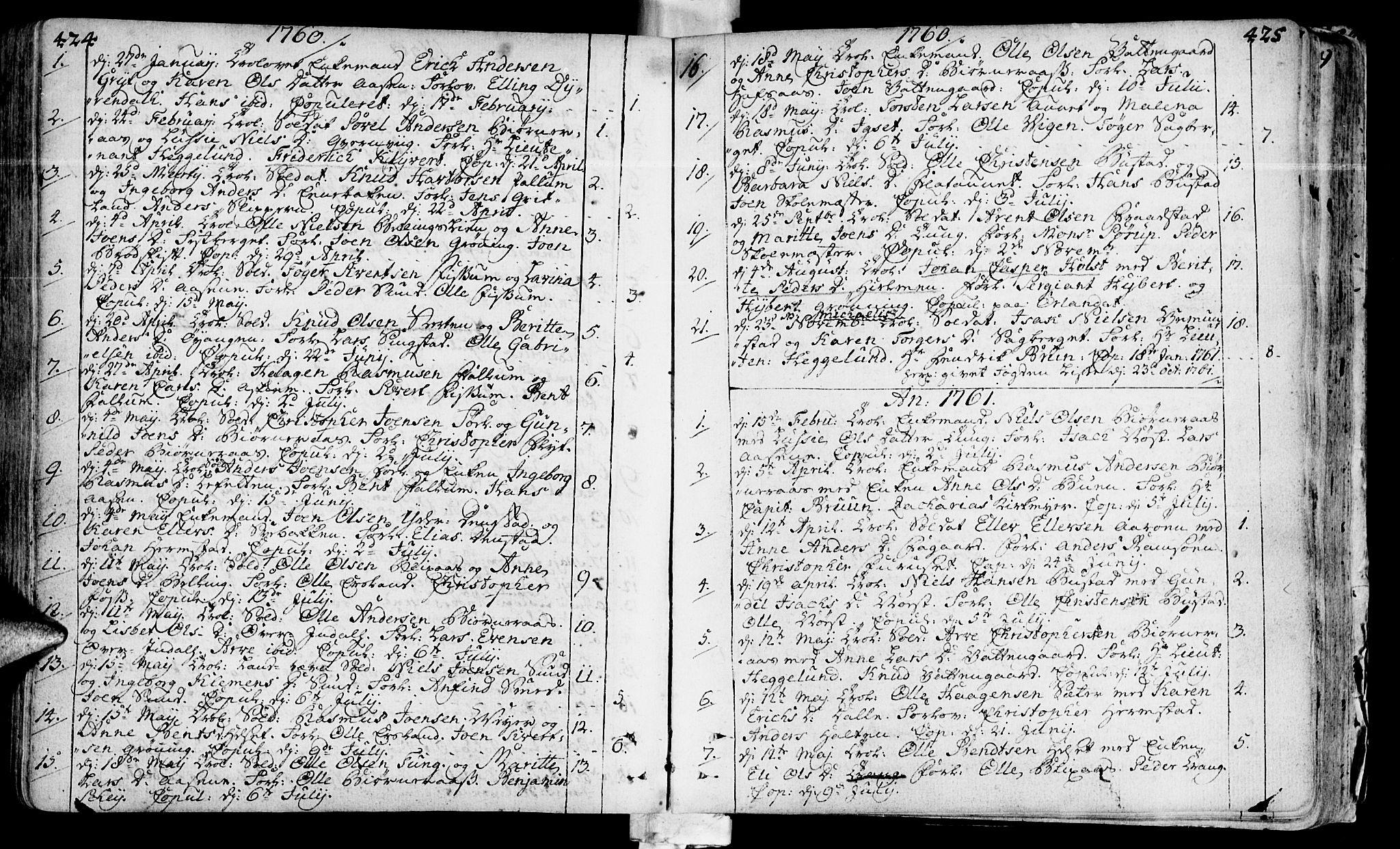 SAT, Ministerialprotokoller, klokkerbøker og fødselsregistre - Sør-Trøndelag, 646/L0605: Ministerialbok nr. 646A03, 1751-1790, s. 424-425