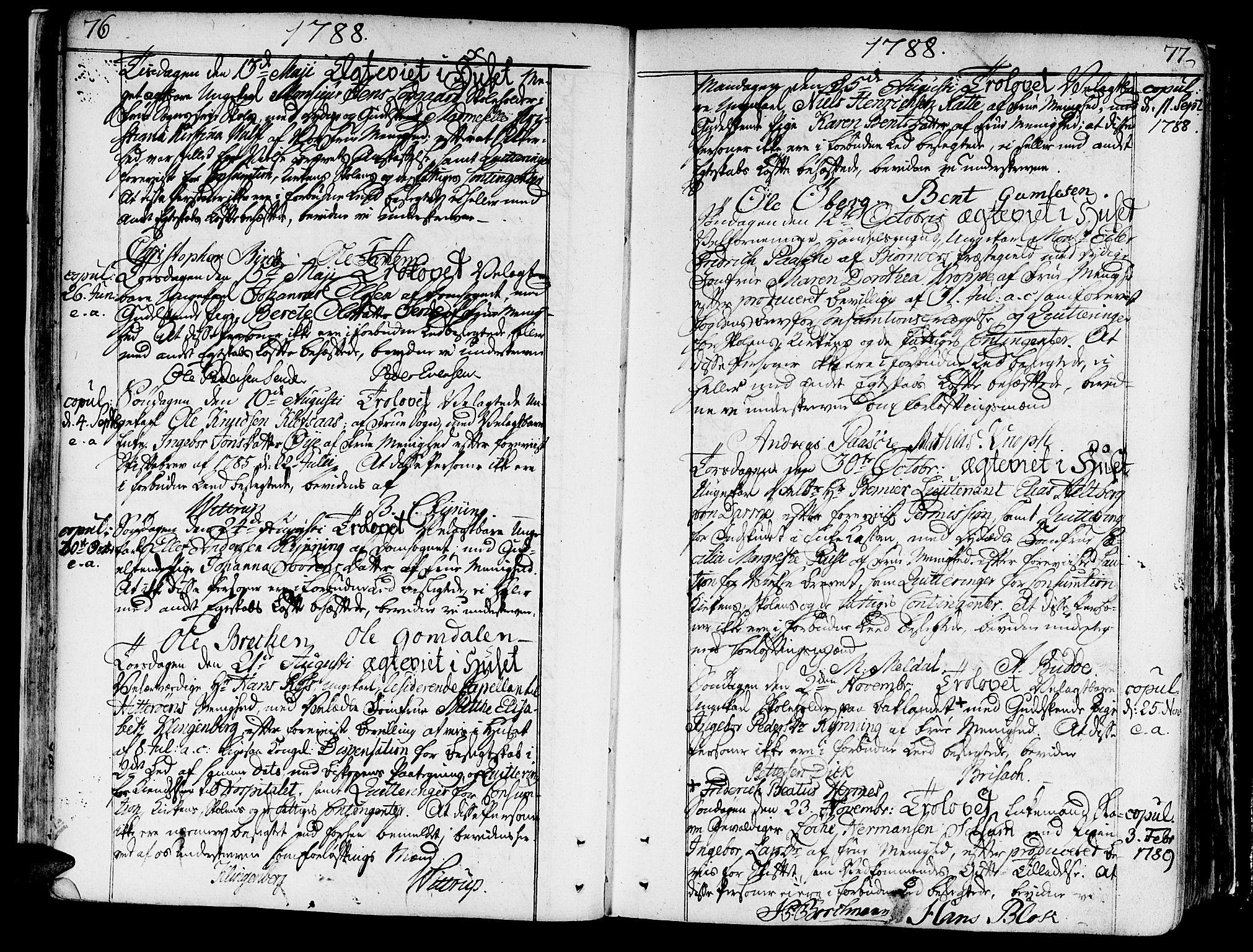 SAT, Ministerialprotokoller, klokkerbøker og fødselsregistre - Sør-Trøndelag, 602/L0105: Ministerialbok nr. 602A03, 1774-1814, s. 76-77