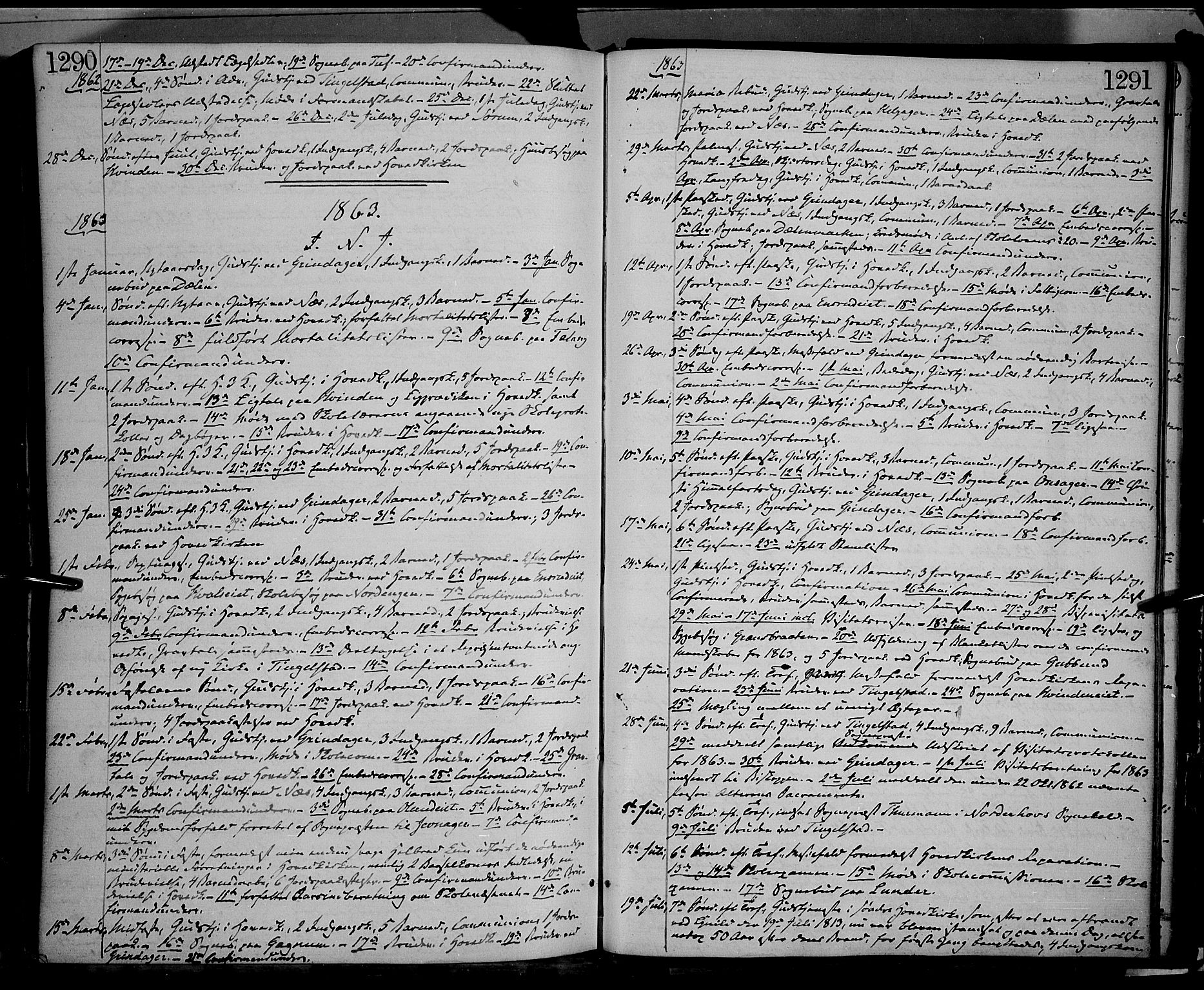 SAH, Gran prestekontor, Ministerialbok nr. 12, 1856-1874, s. 1290-1291