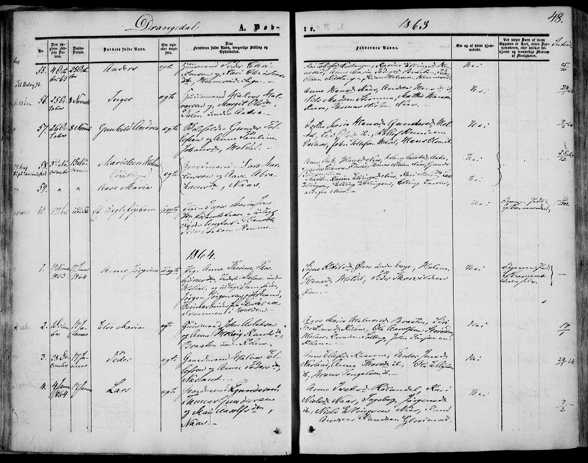 SAKO, Drangedal kirkebøker, F/Fa/L0008: Ministerialbok nr. 8, 1857-1871, s. 48