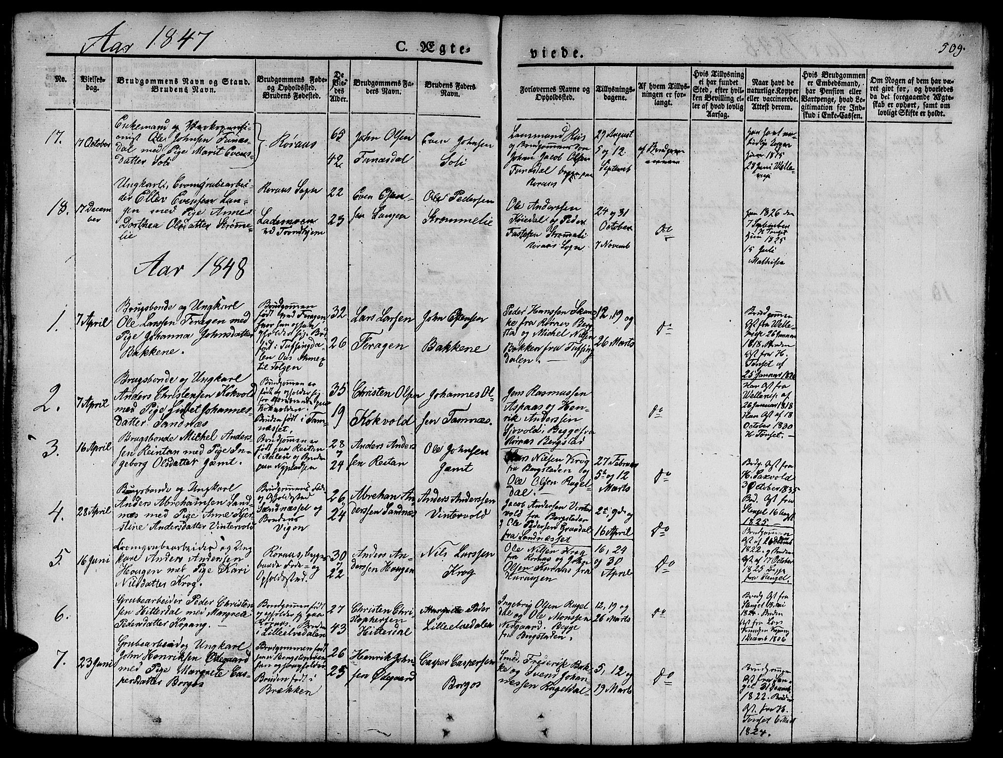SAT, Ministerialprotokoller, klokkerbøker og fødselsregistre - Sør-Trøndelag, 681/L0939: Klokkerbok nr. 681C03, 1829-1855, s. 509
