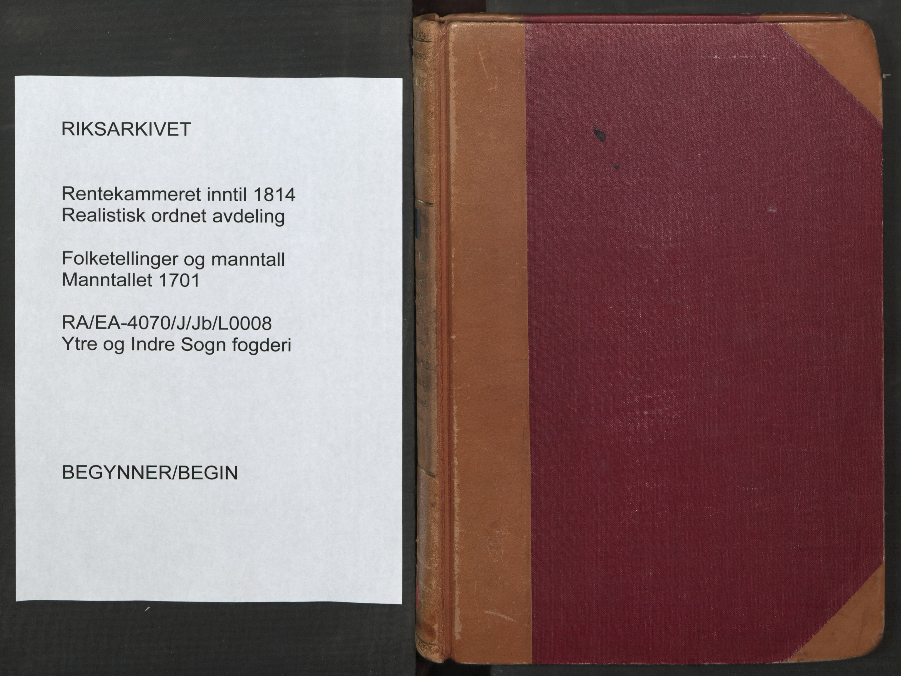 RA, Manntallet 1701, nr. 8: Ytre Sogn fogderi og Indre Sogn fogderi, 1701