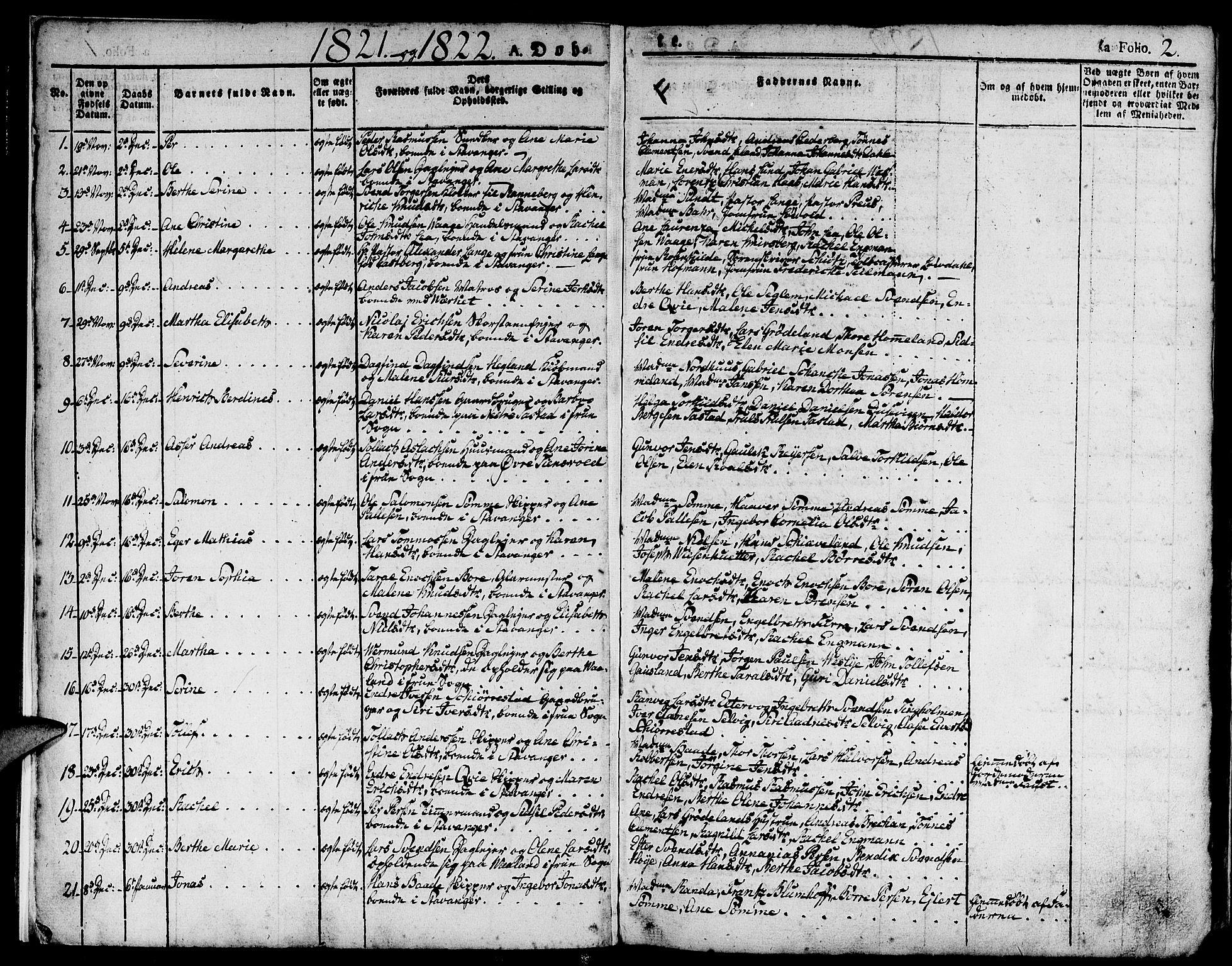 SAST, Domkirken sokneprestkontor, 30/30BA/L0009: Ministerialbok nr. A 9, 1821-1832, s. 2
