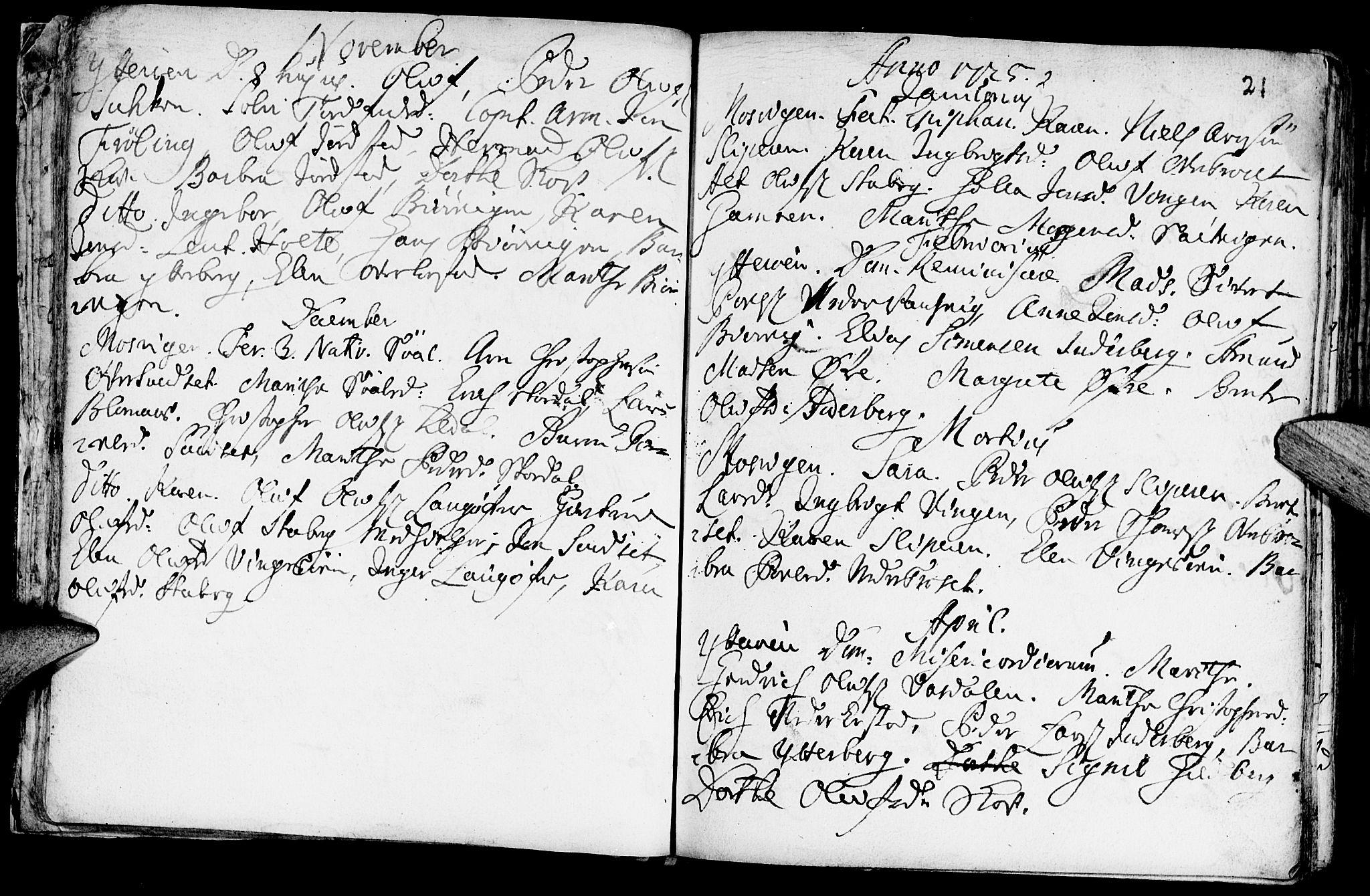 SAT, Ministerialprotokoller, klokkerbøker og fødselsregistre - Nord-Trøndelag, 722/L0215: Ministerialbok nr. 722A02, 1718-1755, s. 21