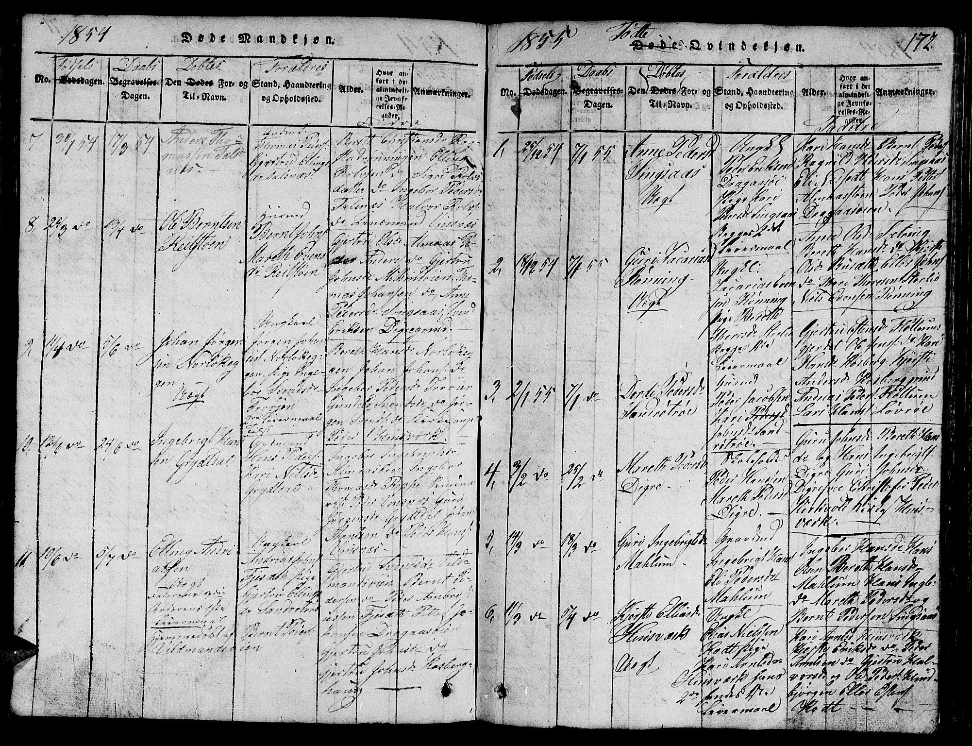 SAT, Ministerialprotokoller, klokkerbøker og fødselsregistre - Sør-Trøndelag, 688/L1026: Klokkerbok nr. 688C01, 1817-1860, s. 172