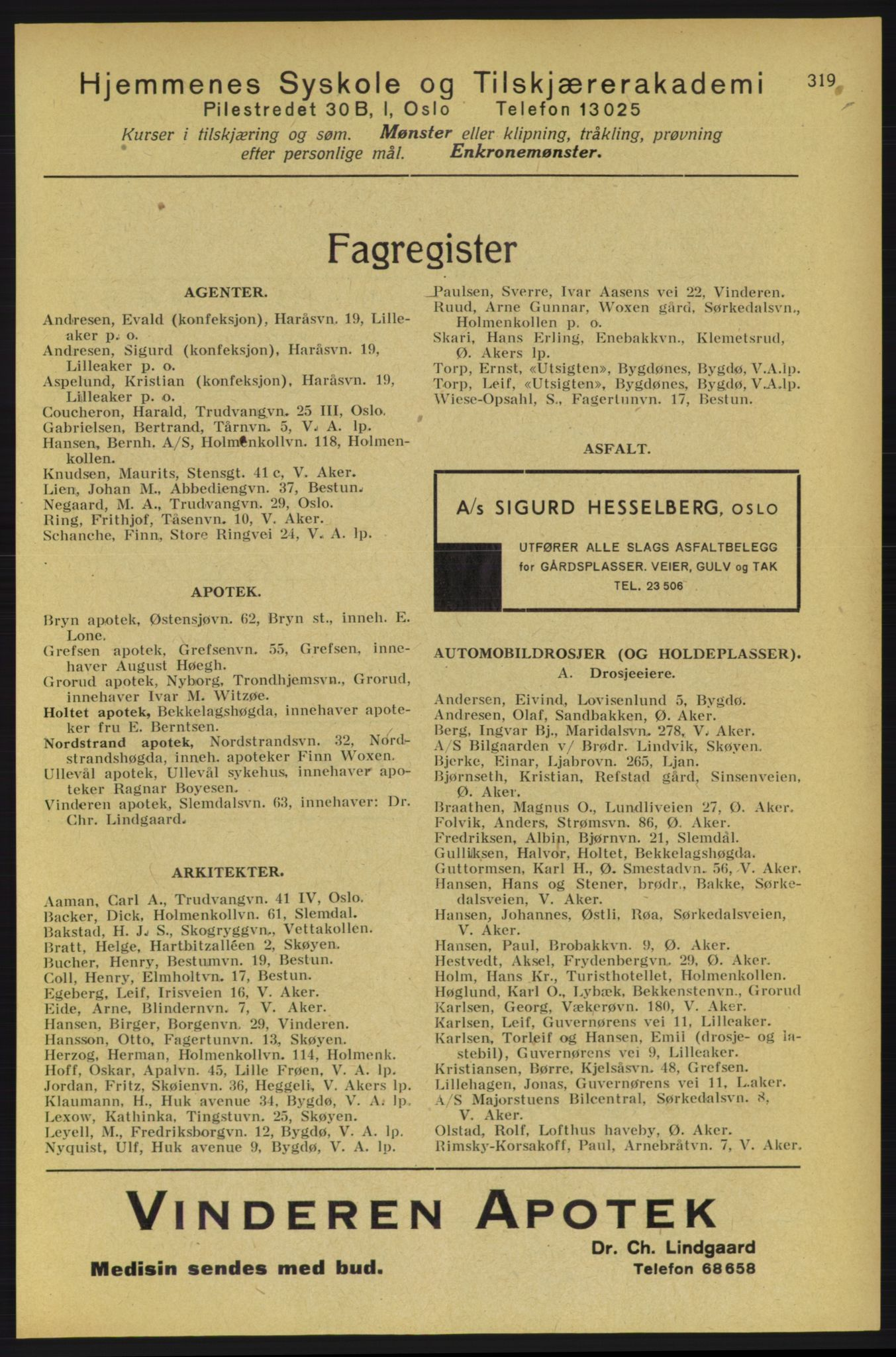 PUBL, Aker adressebok/adressekalender, 1934-1935, s. 319