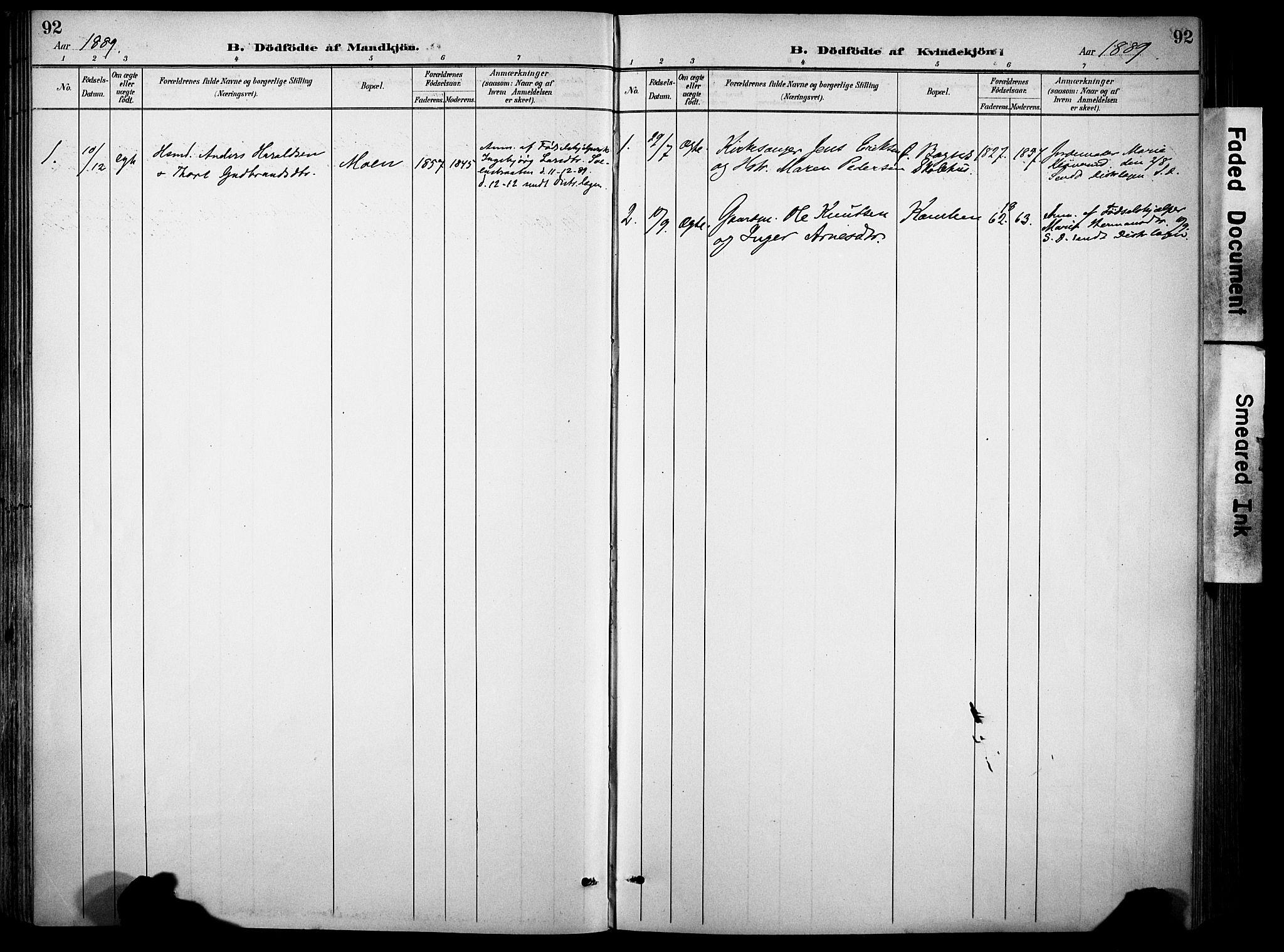 SAH, Sør-Aurdal prestekontor, Ministerialbok nr. 9, 1886-1906, s. 92