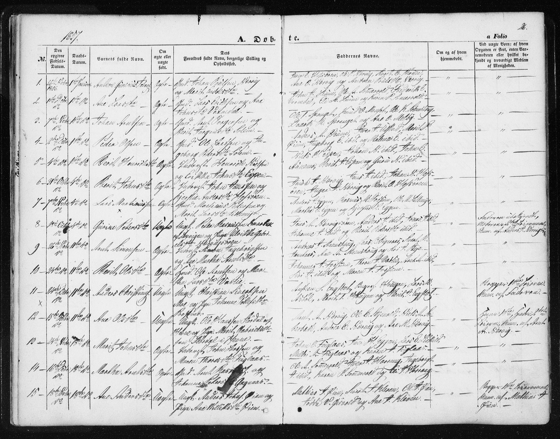SAT, Ministerialprotokoller, klokkerbøker og fødselsregistre - Sør-Trøndelag, 668/L0806: Ministerialbok nr. 668A06, 1854-1869, s. 26