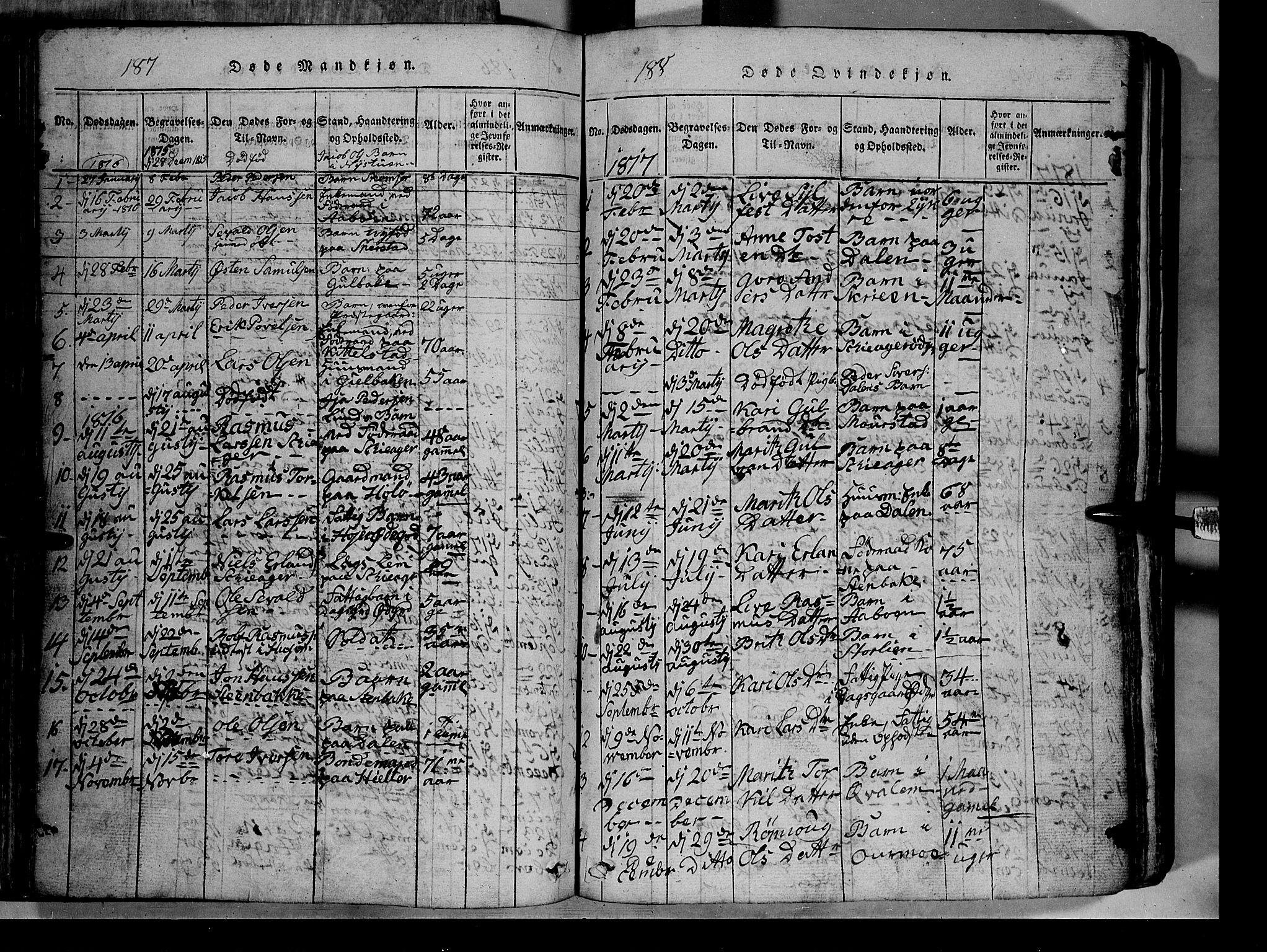 SAH, Lom prestekontor, L/L0003: Klokkerbok nr. 3, 1815-1844, s. 187-188
