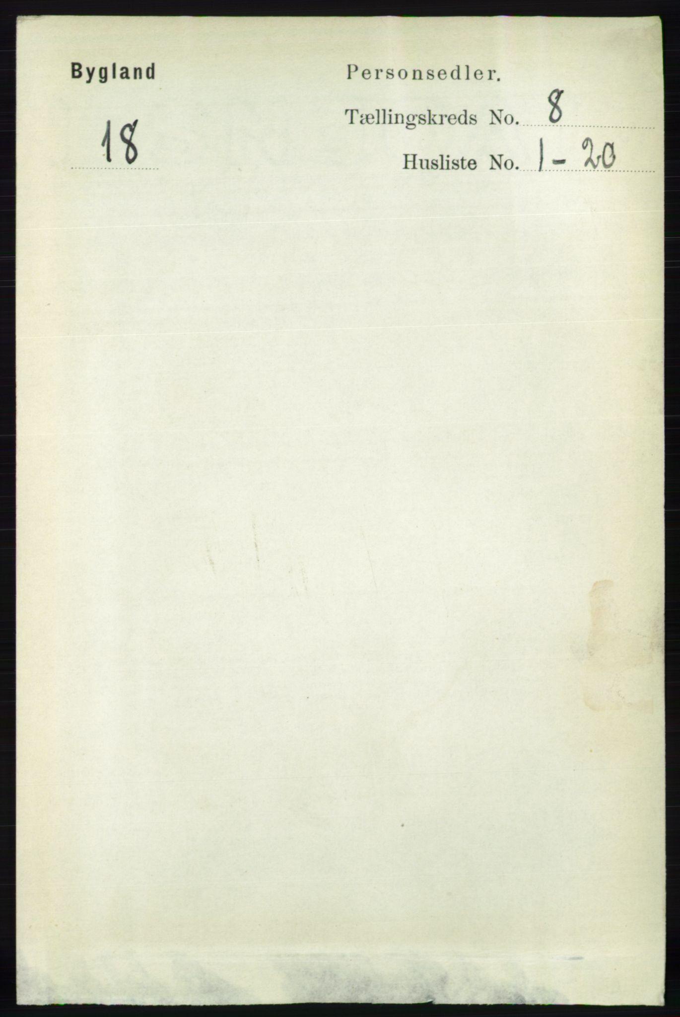 RA, Folketelling 1891 for 0938 Bygland herred, 1891, s. 1914