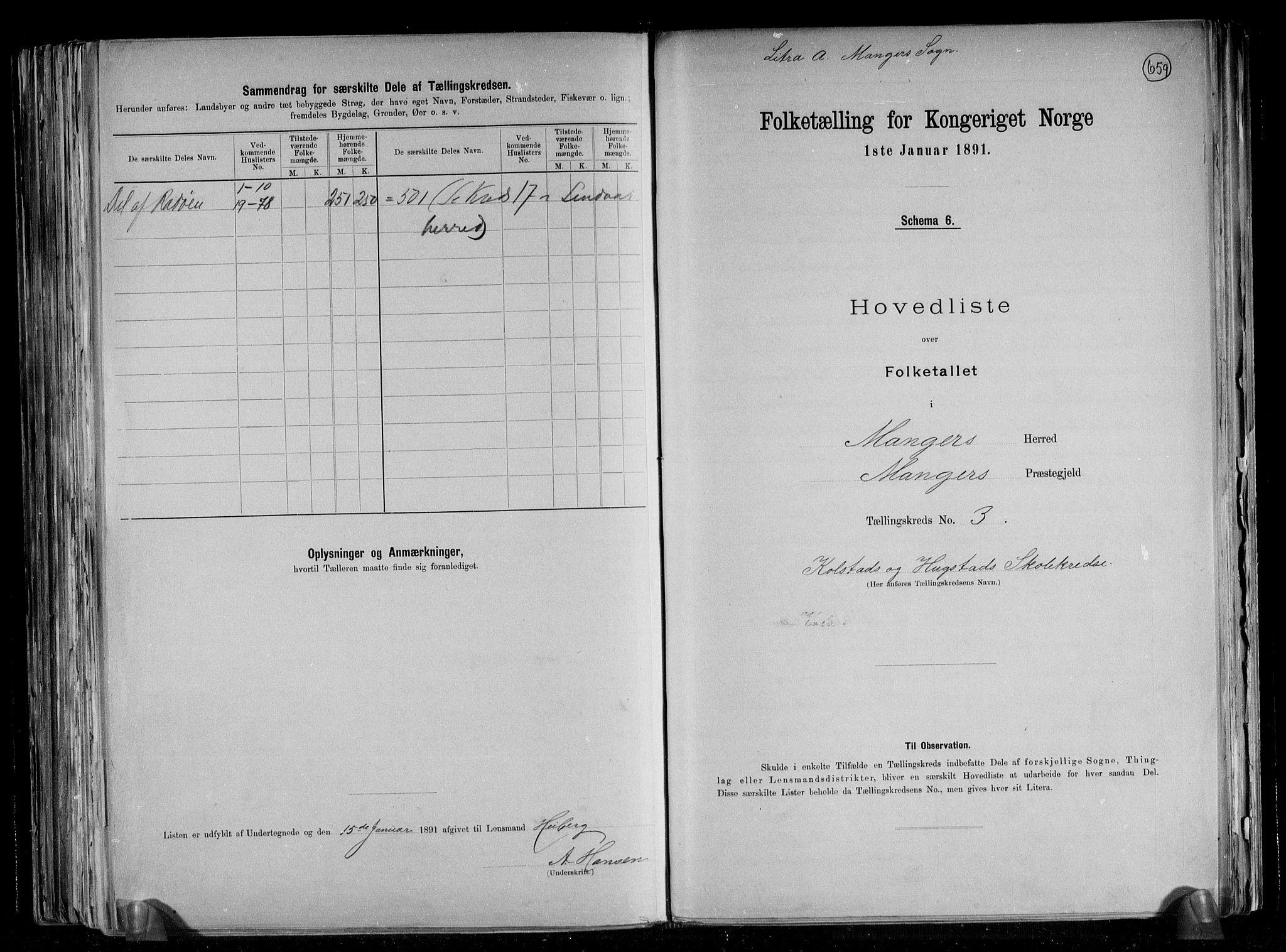 RA, Folketelling 1891 for 1261 Manger herred, 1891, s. 9