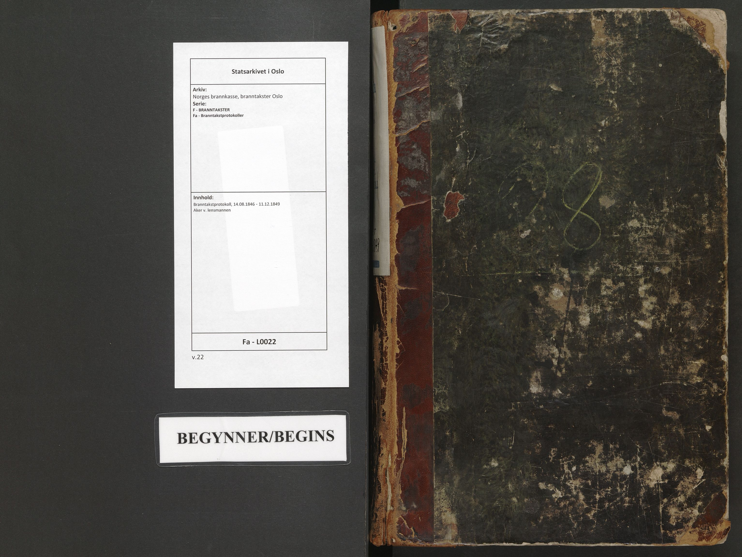 SAO, Norges brannkasse, branntakster Oslo, F/Fa/L0022: Branntakstprotokoll, 1846-1849