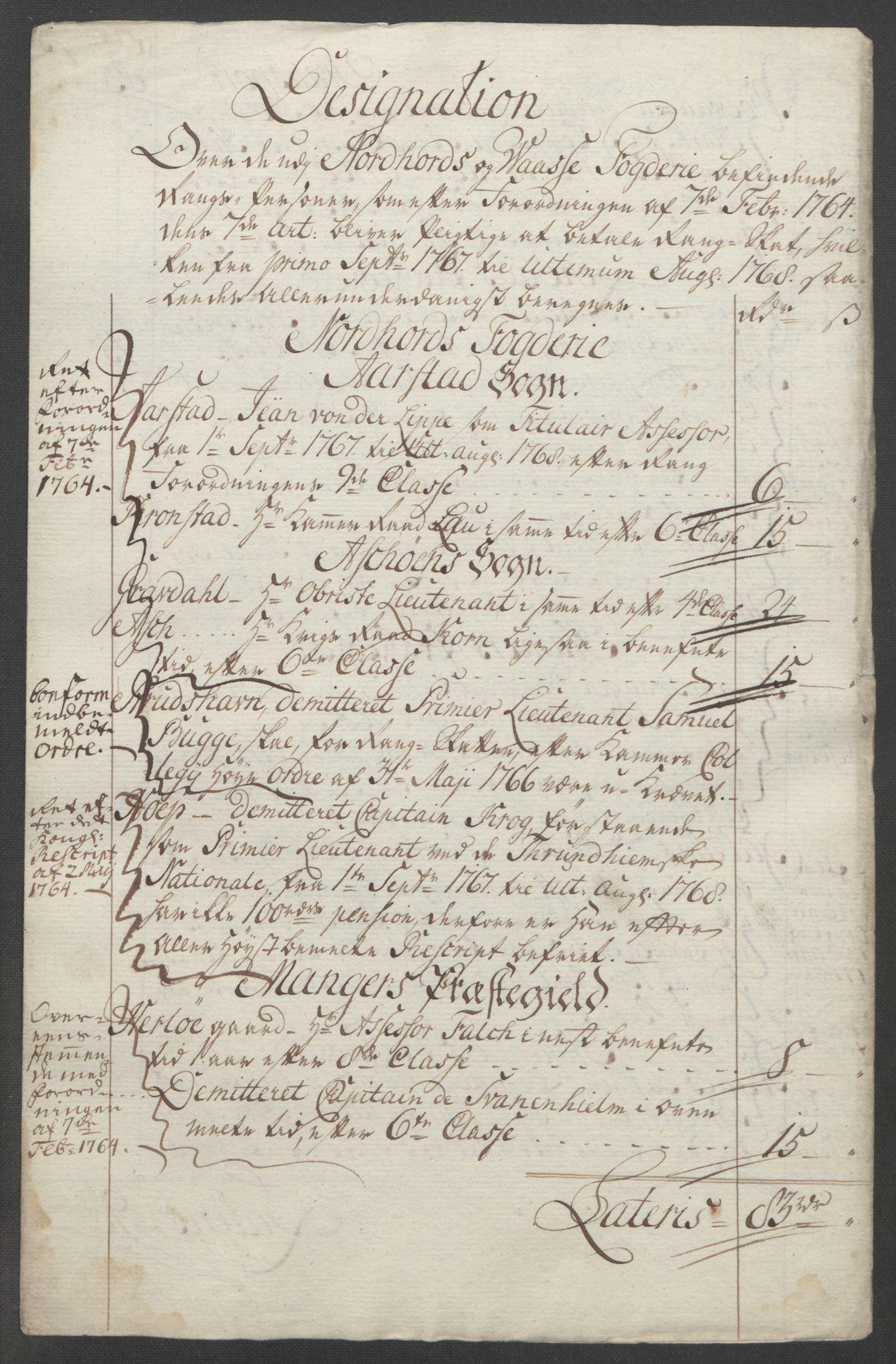 RA, Rentekammeret inntil 1814, Reviderte regnskaper, Fogderegnskap, R51/L3303: Ekstraskatten Nordhordland og Voss, 1762-1772, s. 181