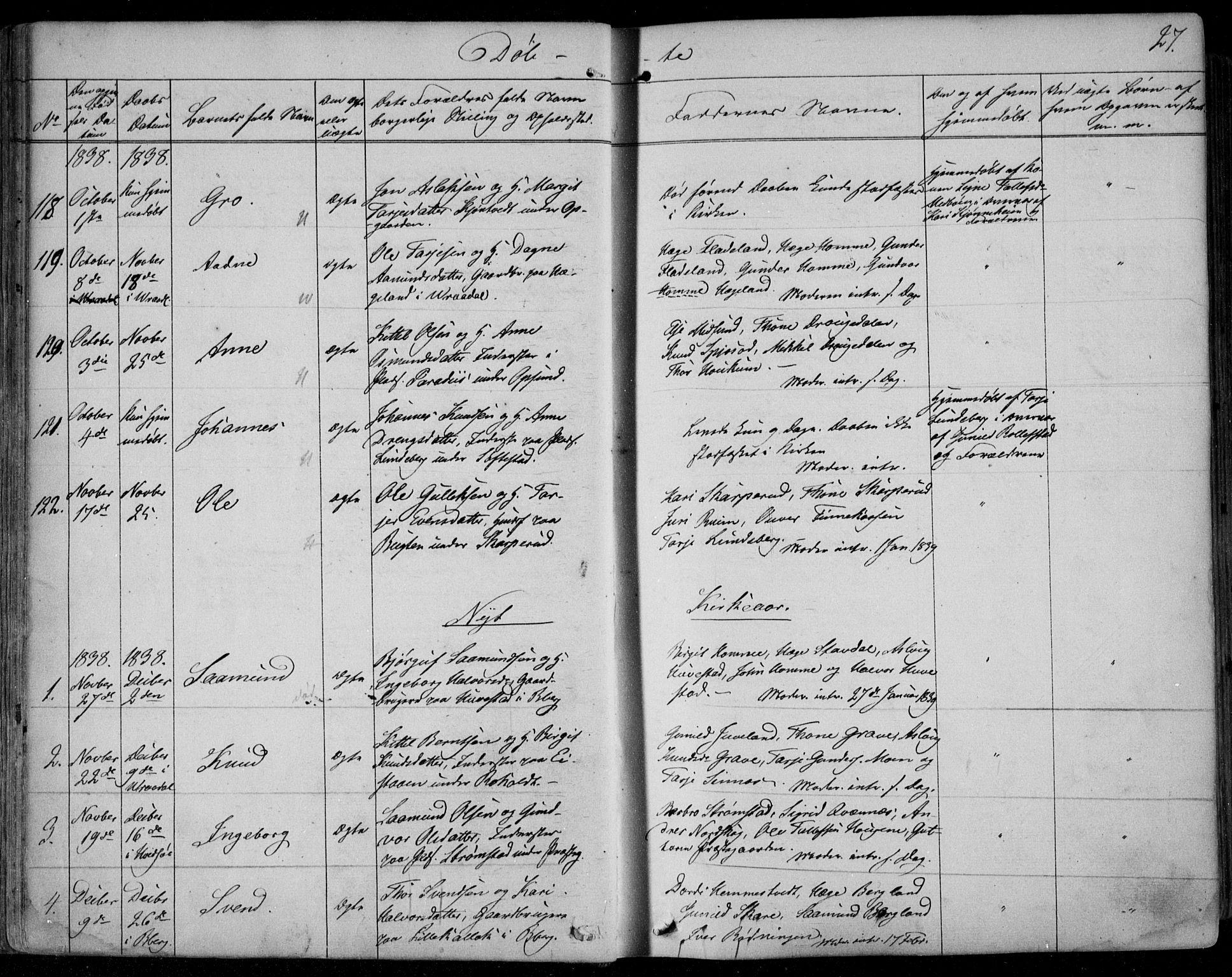 SAKO, Kviteseid kirkebøker, F/Fa/L0006: Ministerialbok nr. I 6, 1836-1858, s. 27